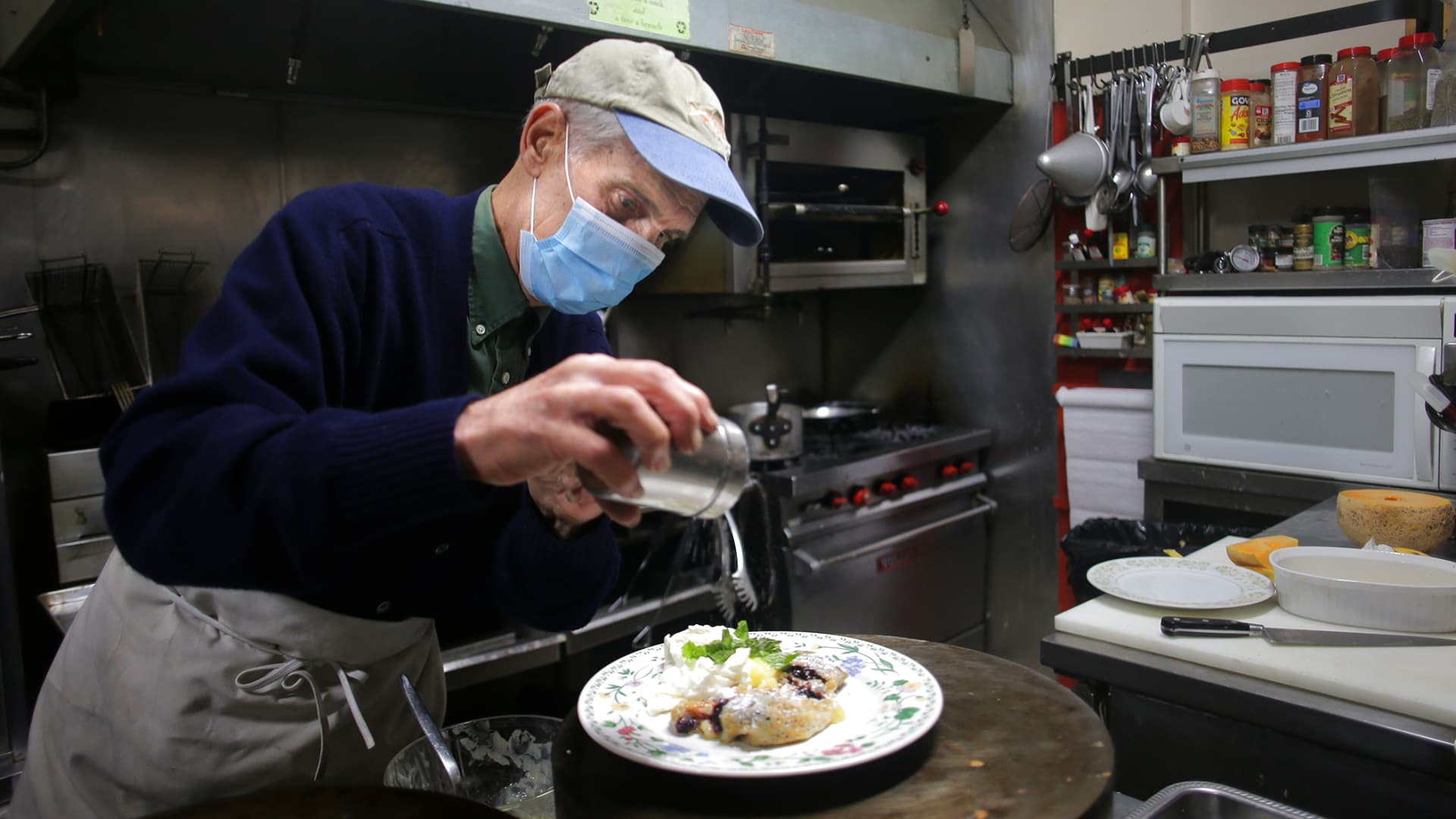 Craig Bero prepares a crepe in the kitchen of Pleasant and Main in Housatonic, MA on Sept. 15, 2020.