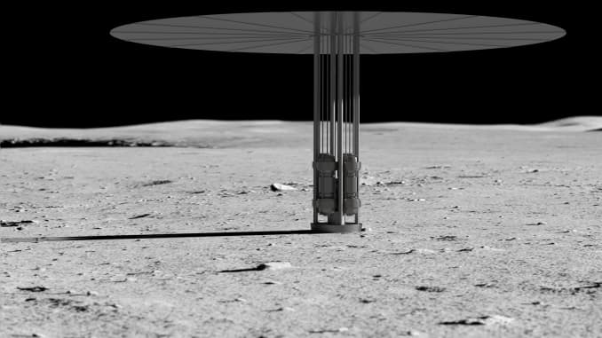 Illustration of a nuclear fission power system concept on the Moon.