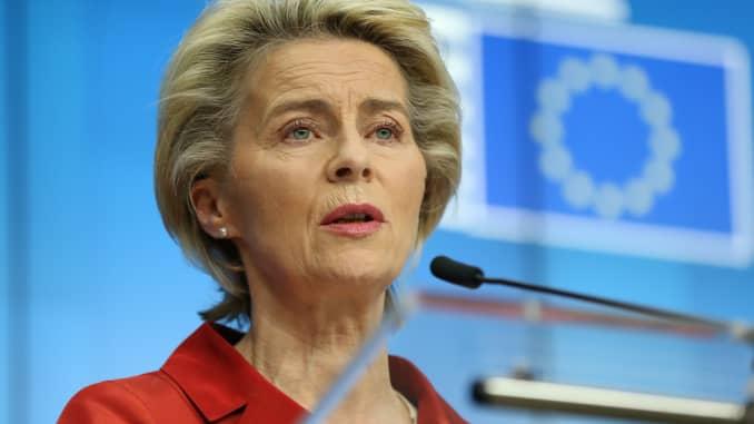 BRUSSELS, BỈ - 29 tháng 10: Chủ tịch Ủy ban Châu Âu Ursula Von Der Leyen.