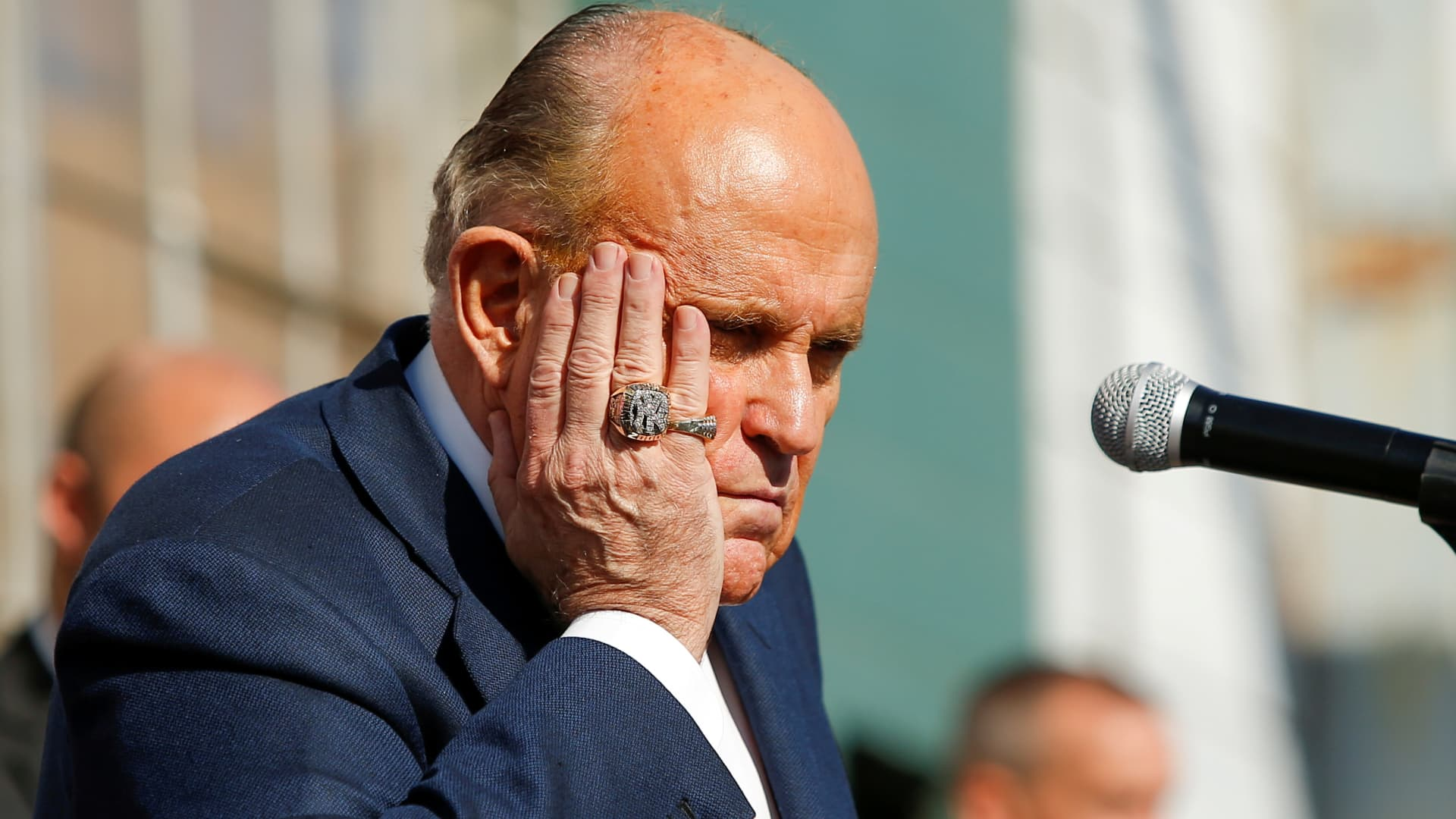 Former New York City Mayor Rudy Giuliani, personal attorney to U.S. President Donald Trump, gestures after media announced that Democratic U.S. presidential nominee Joe Biden has won the 2020 U.S. presidential election, in, Philadelphia, Pennsylvania, U.S., November 7, 2020.