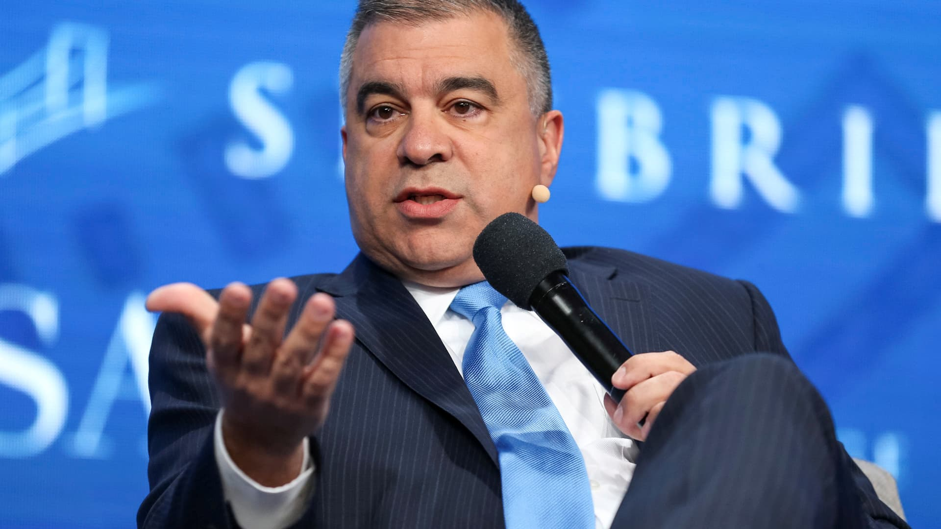 David Bossie, Donald Trump's deputy campaign manager and political activist, speaks during the SALT conference in Las Vegas, Nevada, May 18, 2017.
