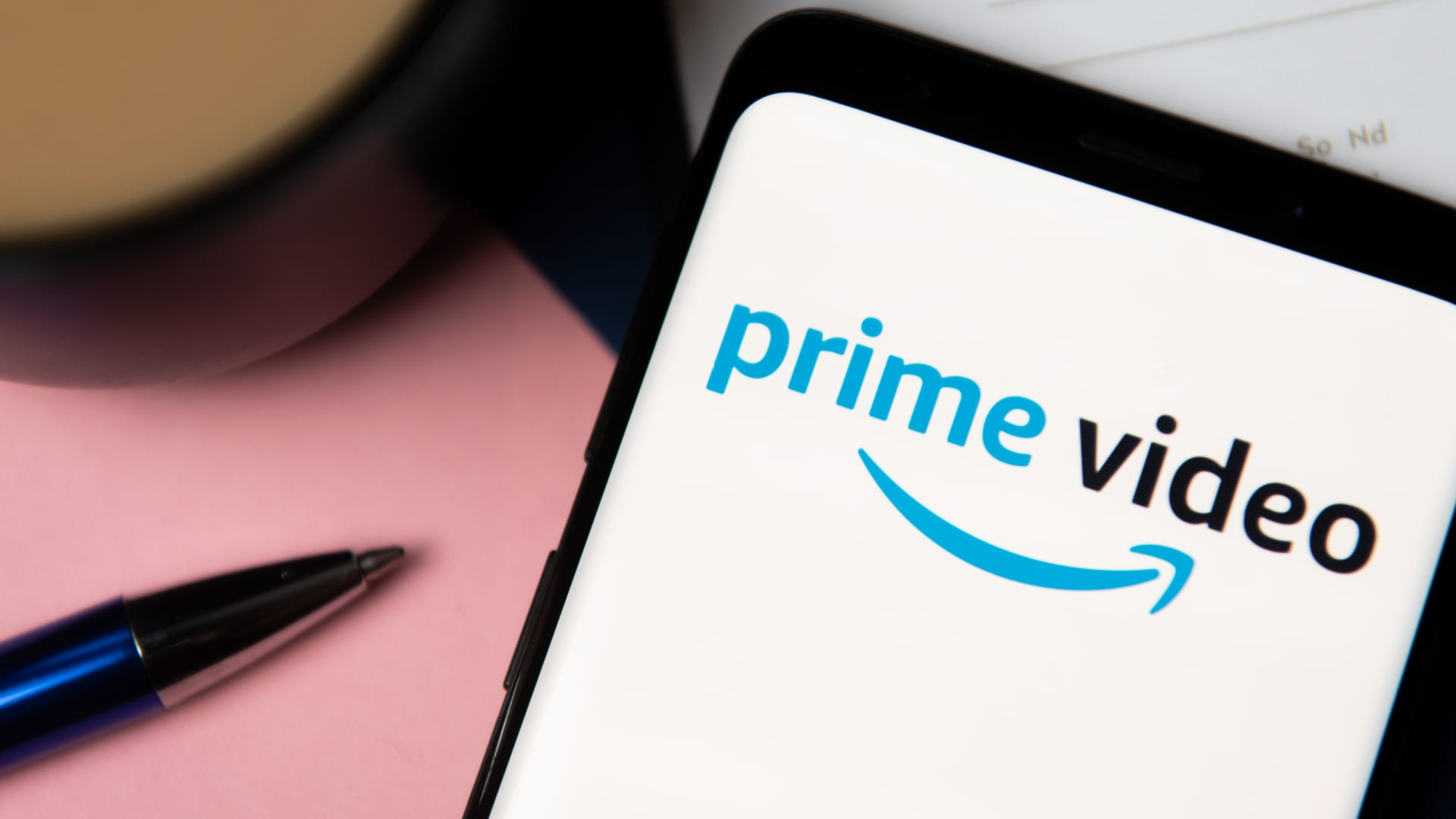 In this photo illustration a Amazon Prime Video logo displayed on a smartphone.