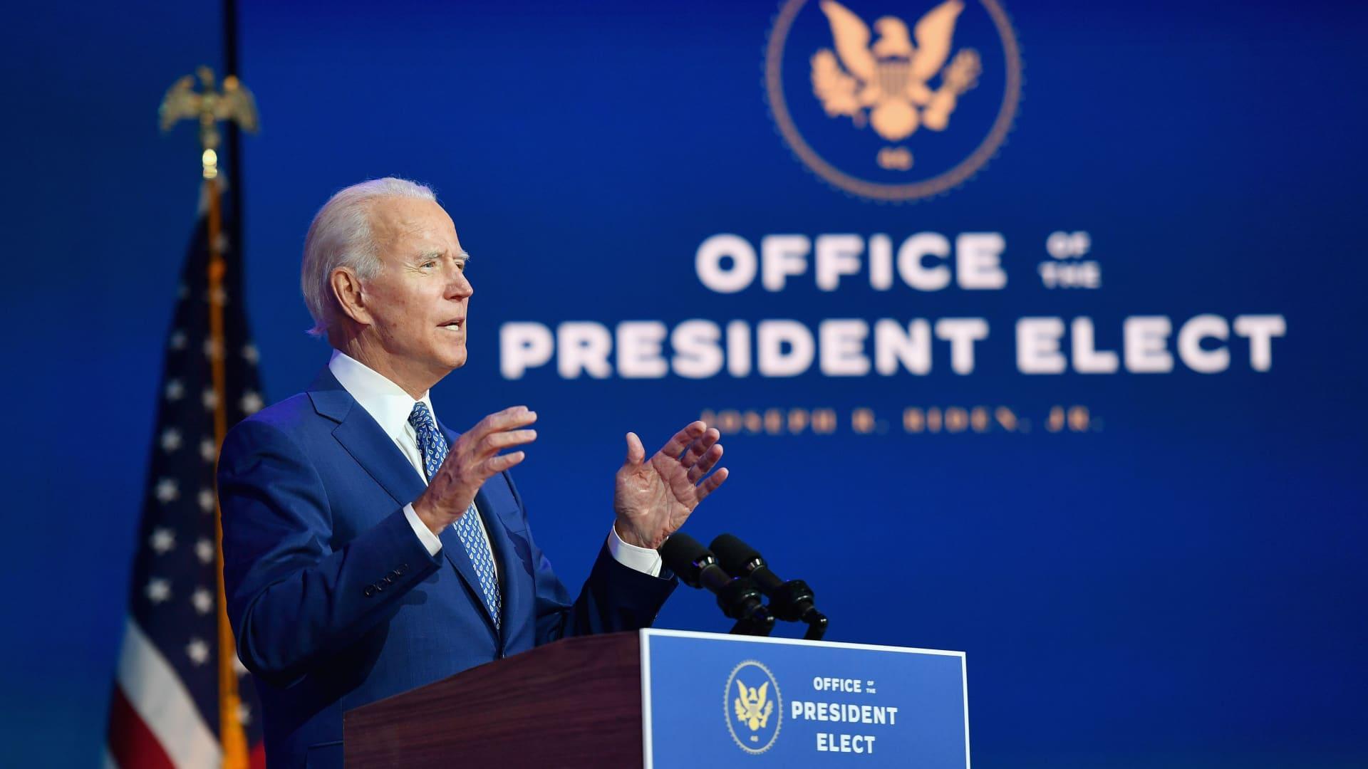 President-elect Joe Biden delivers remarks in Wilmington, Delaware, on Nov. 9, 2020.