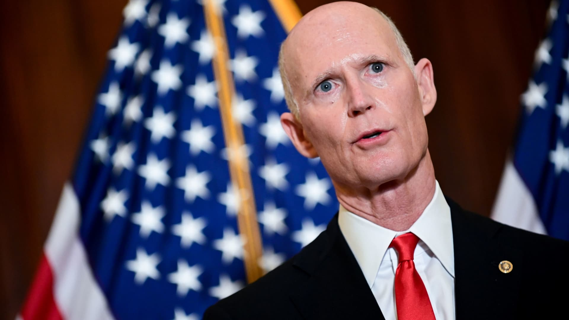 U.S. Senator Rick Scott (R-FL) speaks after the Senate Republican GOP leadership election on Capitol Hill in Washington, November 10, 2020.