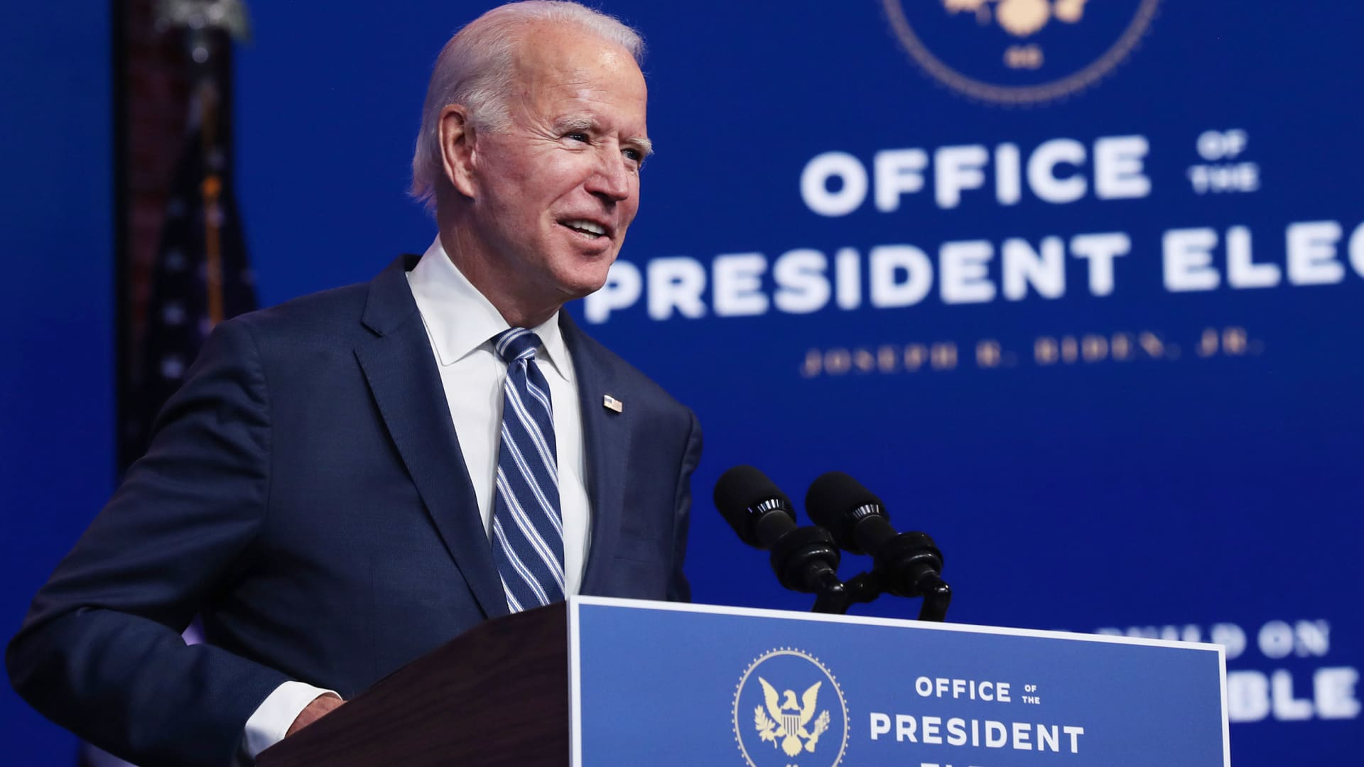 President-elect Joe Biden addresses media about the Trump Administration's lawsuit to overturn the Affordable Care Act on Nov. 10, 2020 in Wilmington, Delaware.