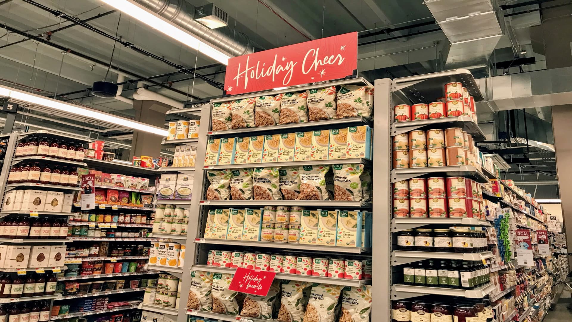 A view of the specialty holiday items available at the Whole Foods in Weehawken, New Jersey.