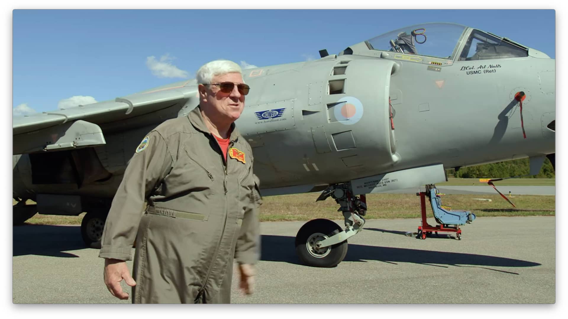 Retired Marine Lt. Col. Art Nalls with his Sea Harrier.