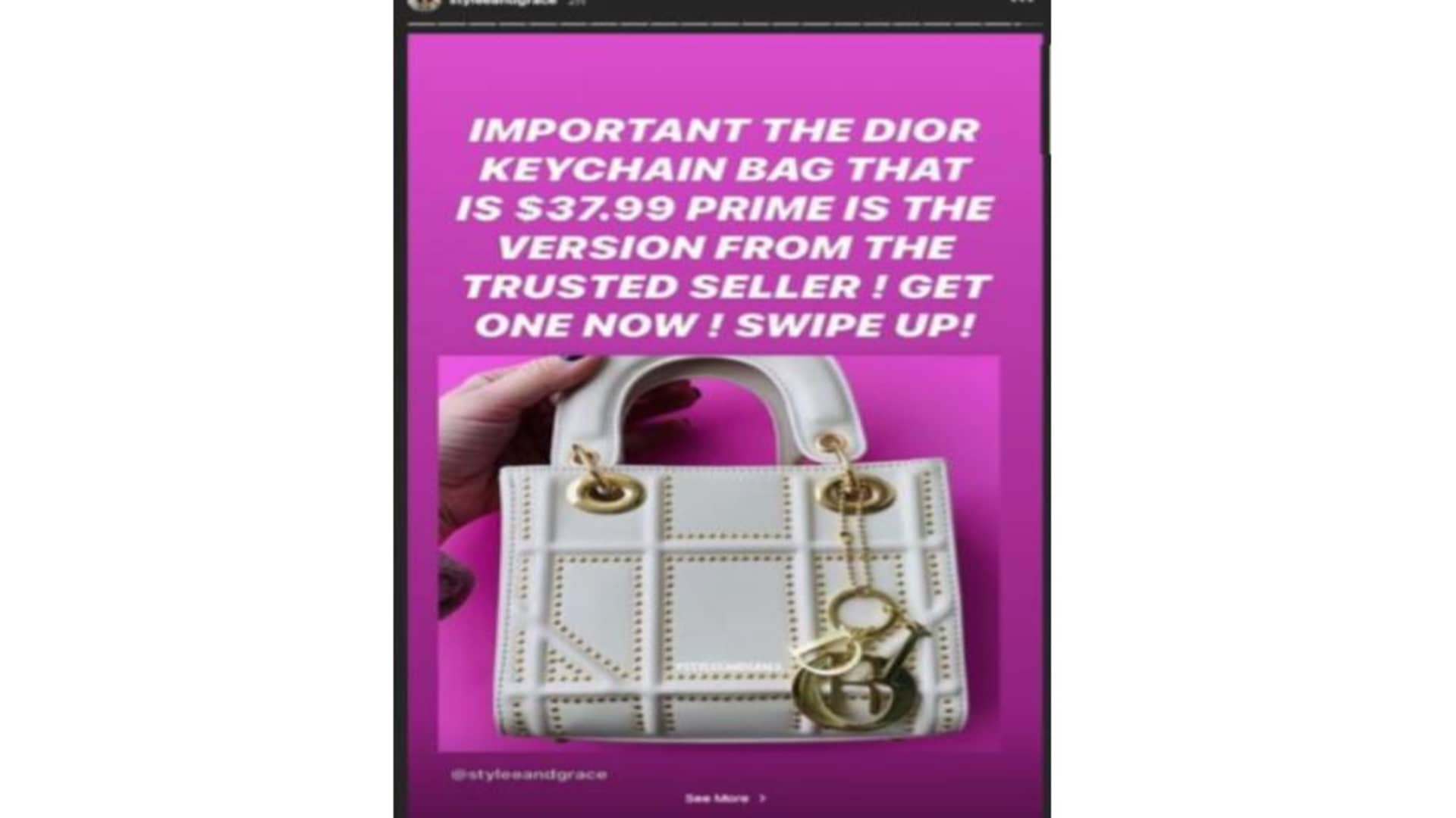 An example of one of Fitzpatrick's Instagram posts allegedly advertising a counterfeit Dior bag.