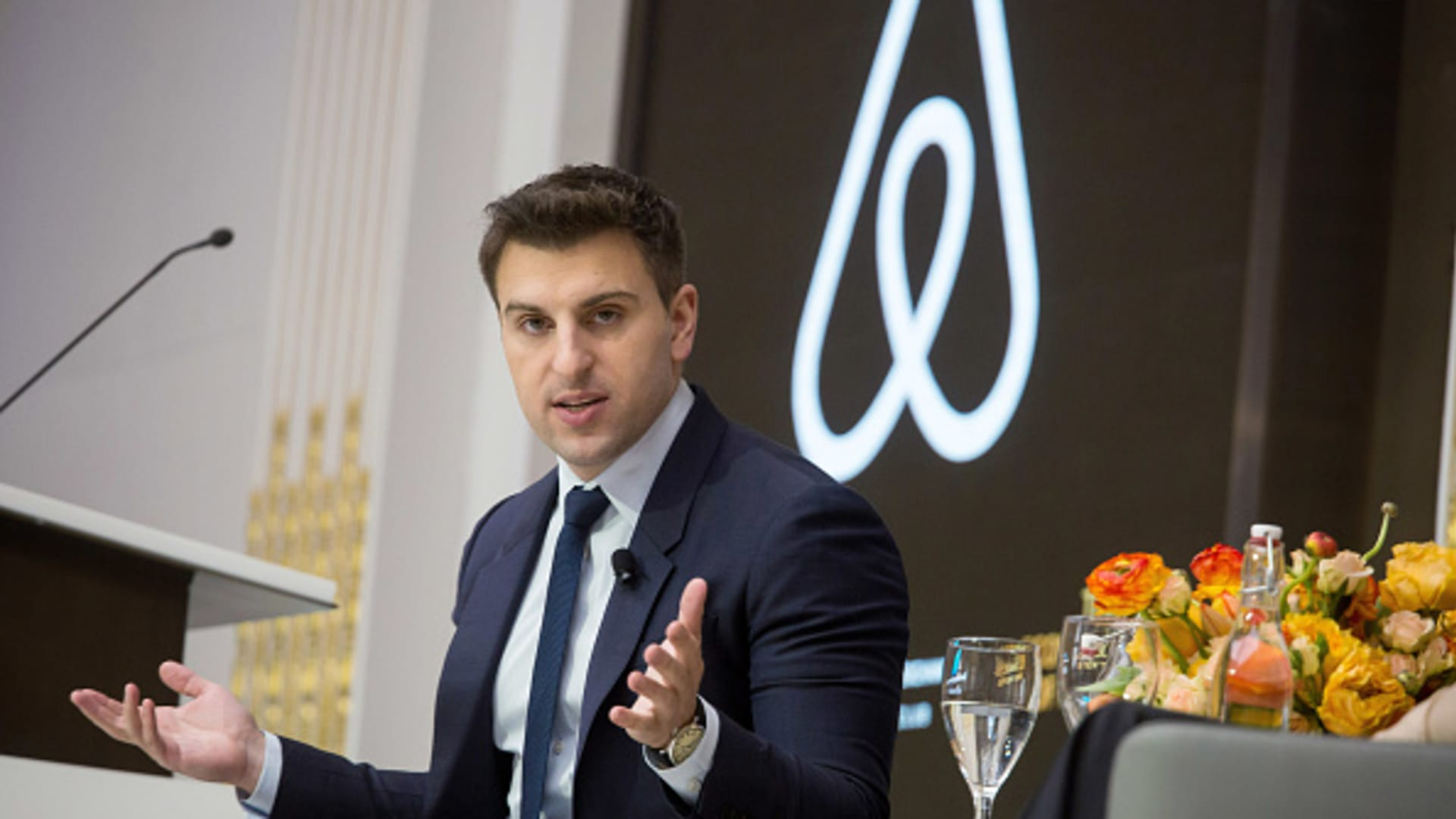 Brian Chesky, chief executive officer and co-founder of Airbnb Inc., speaks during an Economic Club of New York luncheon at the New York Stock Exchange (NYSE) in New York, U.S., on Monday, March 13, 2017.
