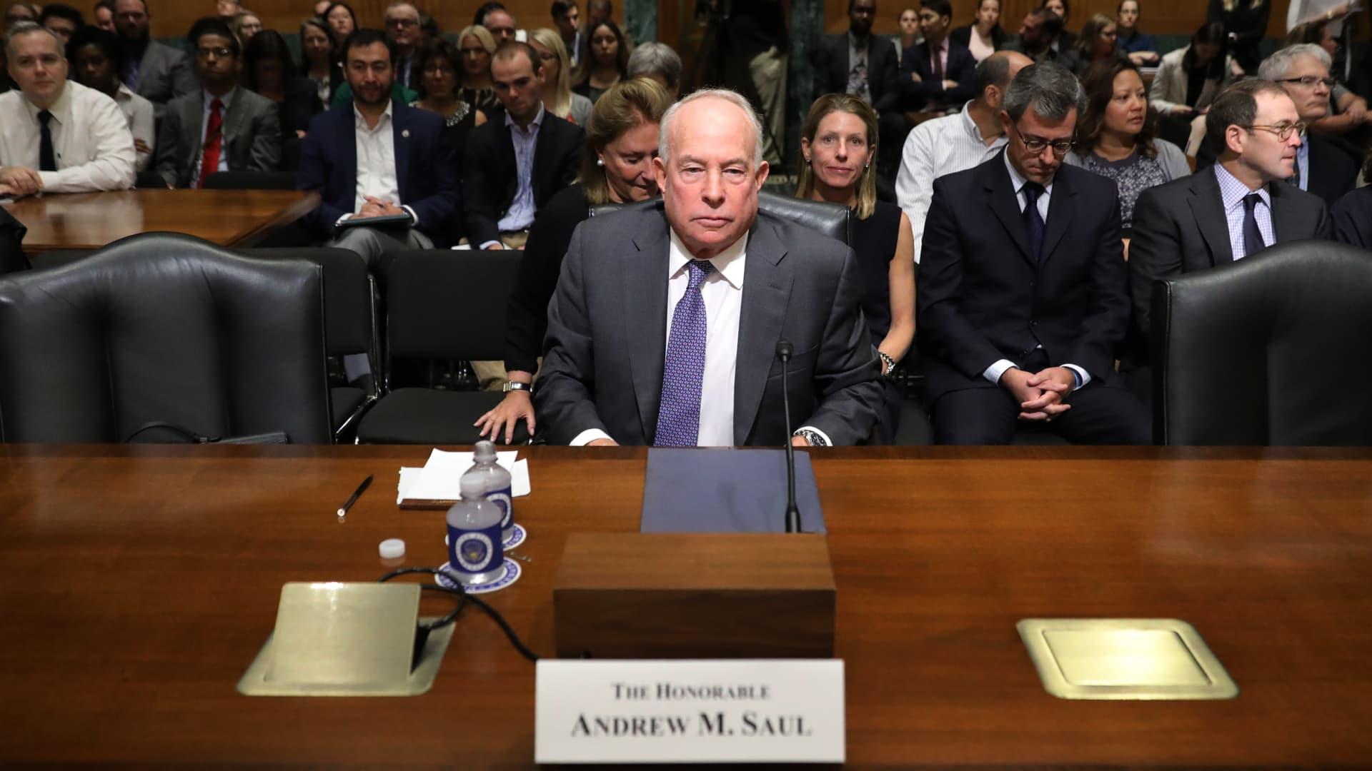 New York businessman Andrew Saul testifies before the Senate Finance Committee on Oct. 2, 2018.