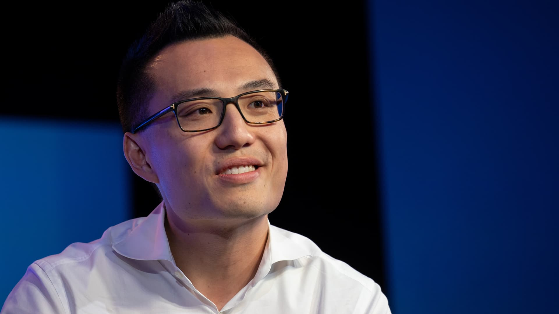 Tony Xu, co-founder and chief executive officer of DoorDash Inc., smiles during the Wall Street Journal Tech Live conference in Laguna Beach, California, U.S., on Tuesday, Oct. 22, 2019.