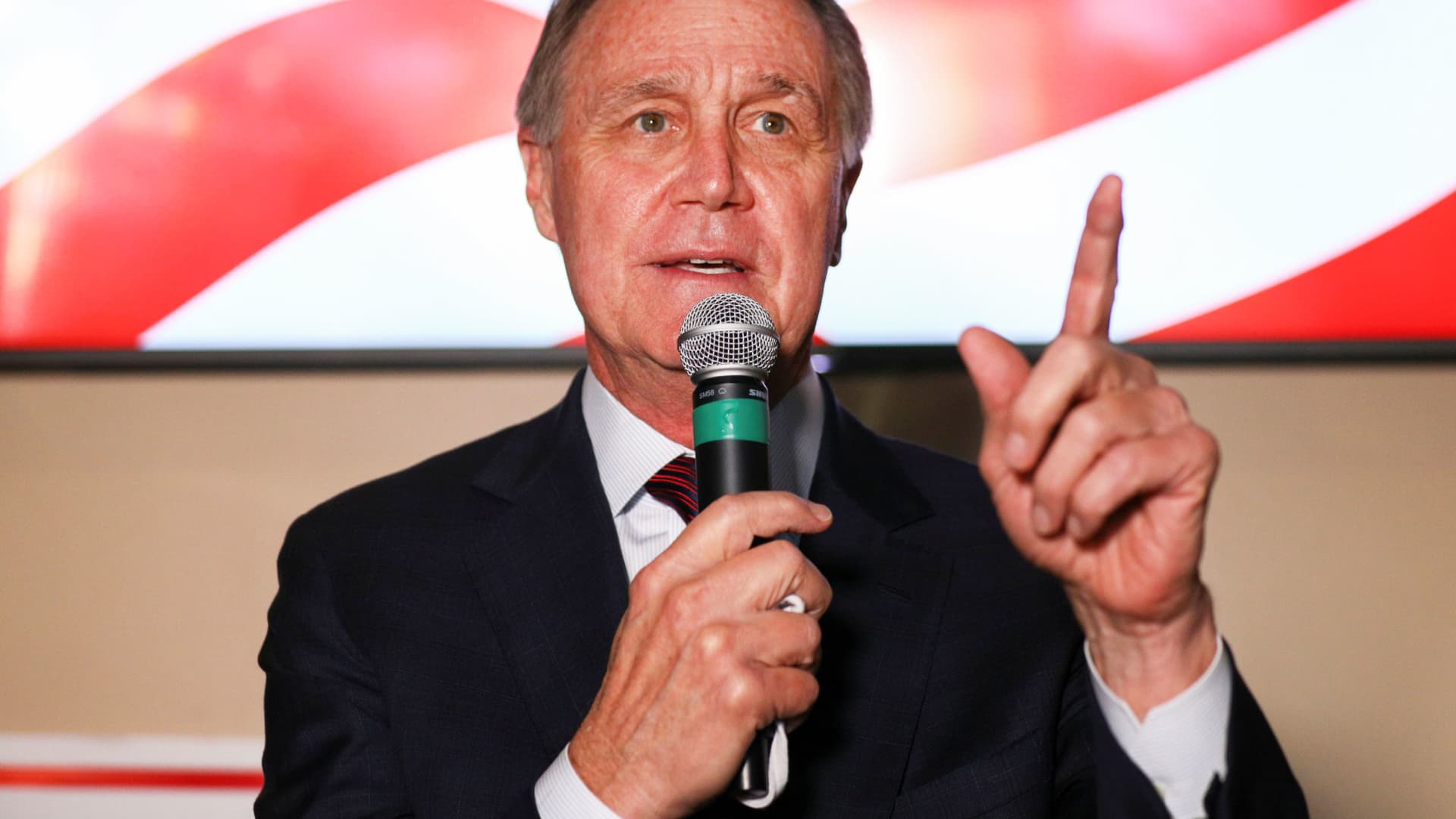 U.S. Senator David Perdue speaks during a campaign event in Cumming, Georgia, November 13, 2020.