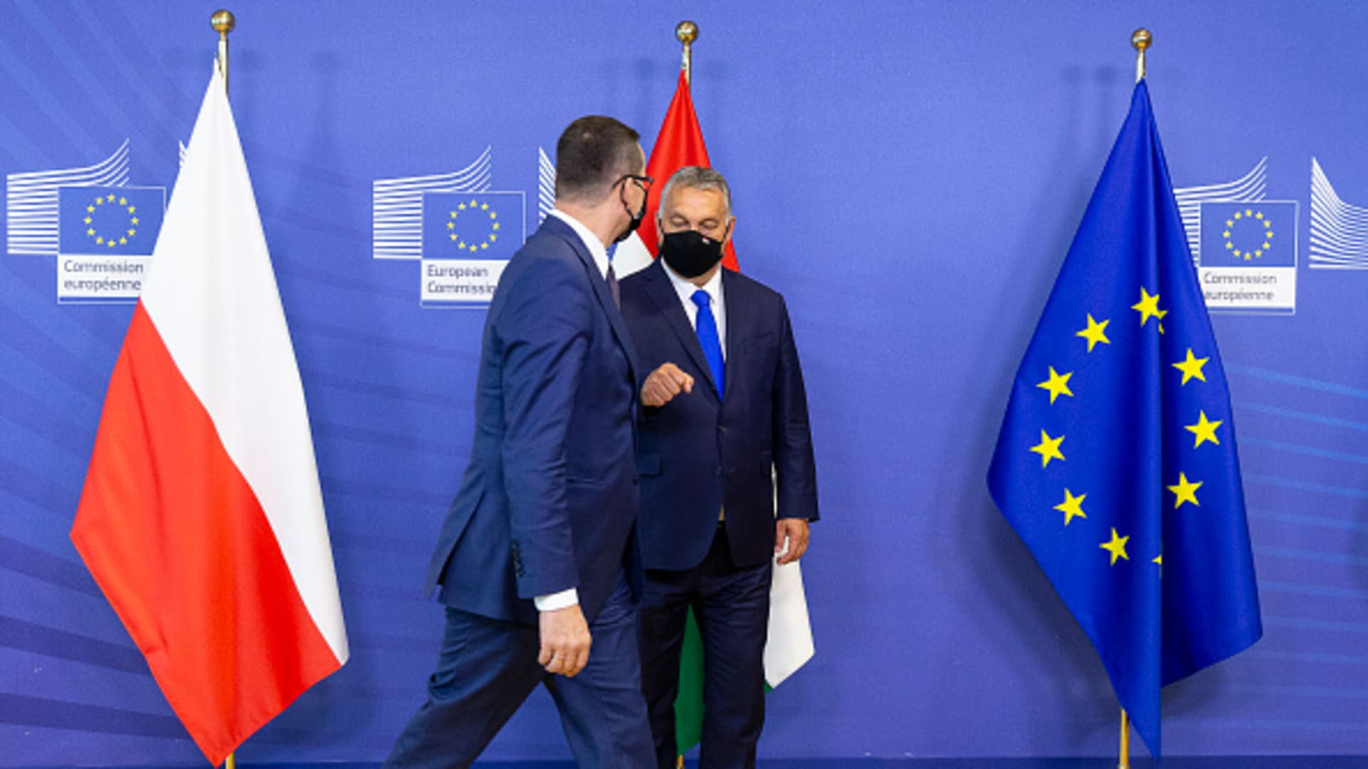 Polish Prime Minister Mateusz Morawiecki (L) and the Hungarian Prime Minister Viktor Mihaly Orban (R) attend a Visegrad Group meeting in the Berlaymont, the EU Commission headquarter on September 24, 2020, in Brussels, Belgium.