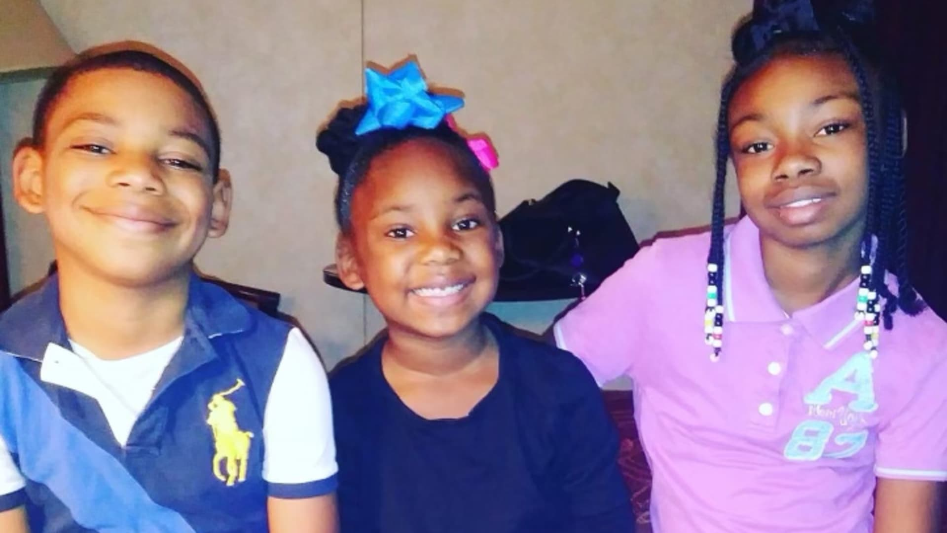 Sierra Graves' three children (from left to right): Jahsiah, 10, and Destiny, 7, and Morriyah, 12.