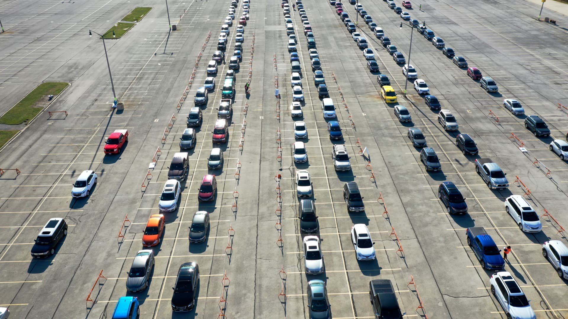 An aerial picture shot with a drone shows residents lined up in their cars at a COVID-19 test center on the grounds of Miller Park on November 17, 2020 in Milwaukee, Wisconsin.