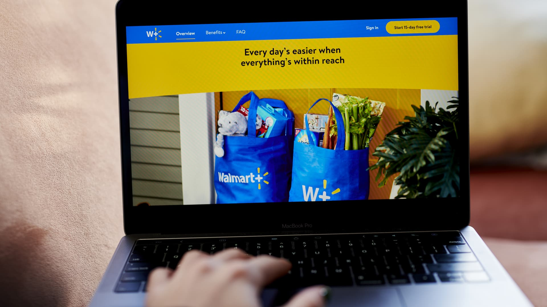 The Walmart+ home screen on a laptop computer arranged in the Brooklyn Borough of New York, U.S., on Wednesday, Nov. 18, 2020.