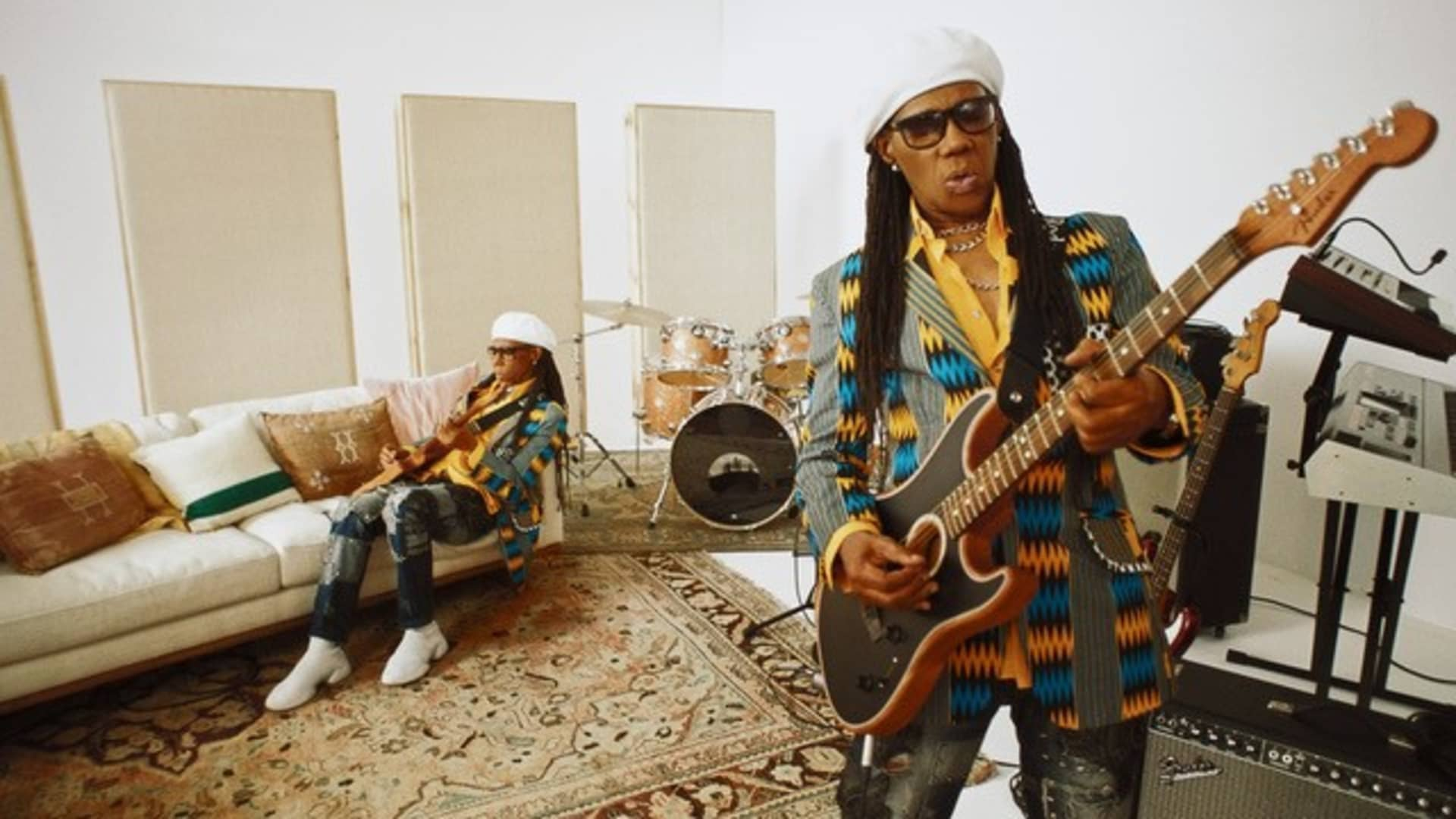 Rock and Roll Hall of Famer Nile Rodgers is developing a different sound on the Fender Acoustasonic, an acoustic and electric hybrid.