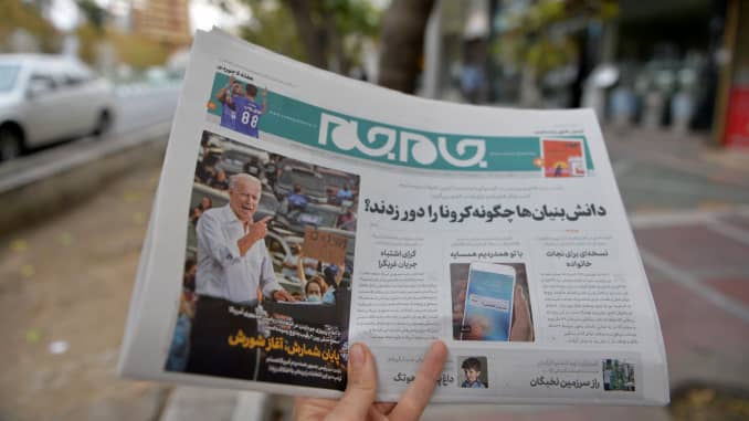 A view from Tehran's street as a citizen reading the news regarding the U.S. elections in newspapers, on November 09, 2020 in Tehran, Iran.