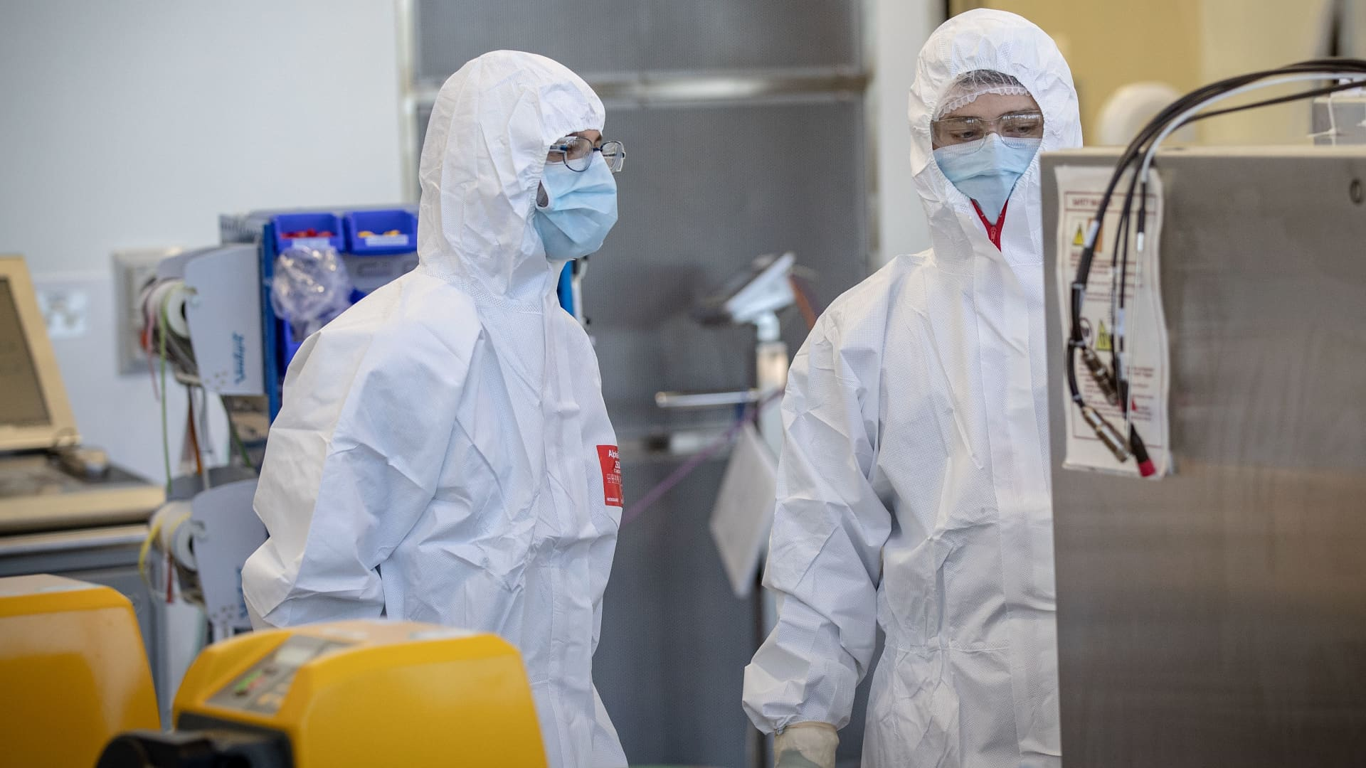 Staff at CSL are working in the lab on November 08, 2020 in Melbourne, Australia, where they will begin manufacturing AstraZeneca-Oxford University COVID-19 vaccine.