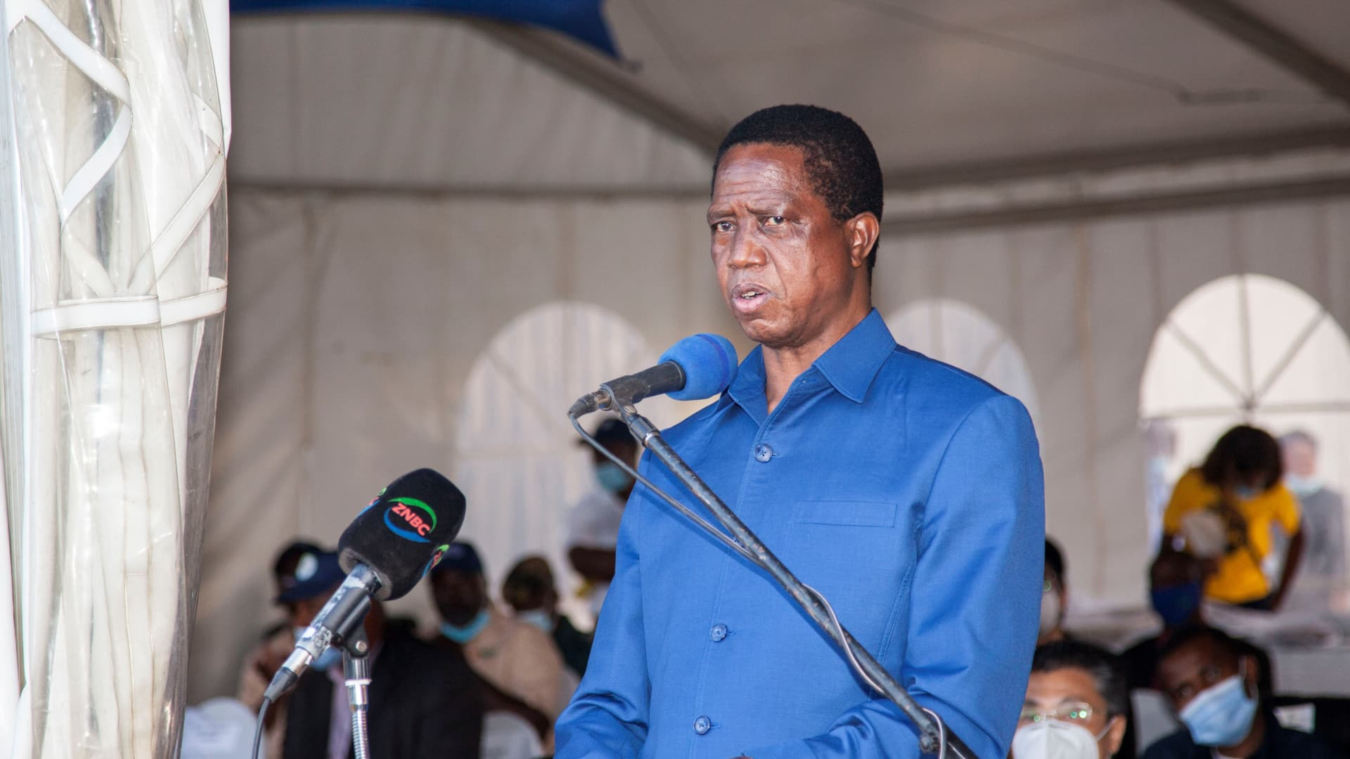 CHONGWE (ZAMBIA), Nov. 13, 2020 (Xinhua) -- Zambian President Edgar Lungu delivers a speech at the launch of blueberry export to China in Chongwe, Zambia, on Nov. 13, 2020. Zambia on Friday flagged off its inaugural export of fresh blueberries to China, becoming the first country in southern Africa to enter the huge Chinese market.
