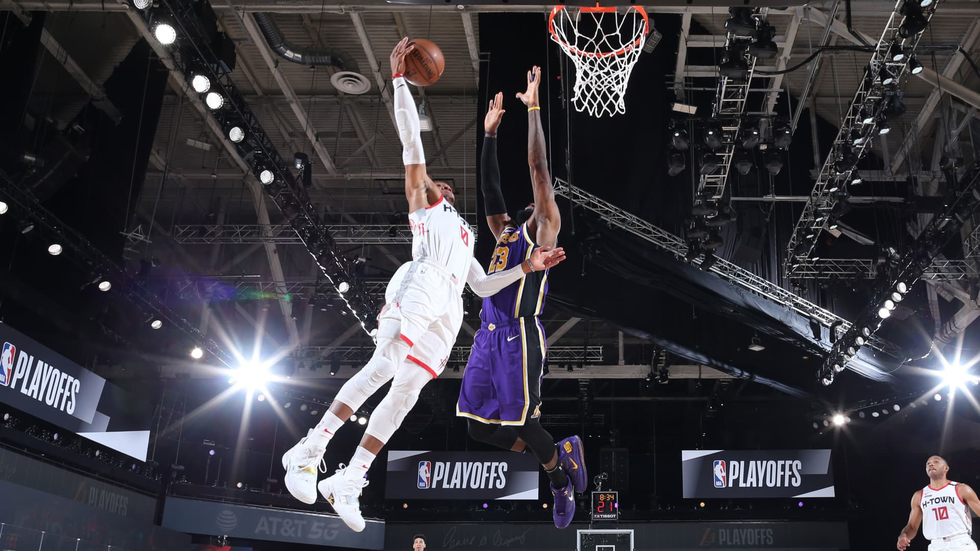 Russell Westbrook #0 of the Houston Rockets dunks the ball against the Los Angeles Lakers during Game One of the Western Conference SemiFinals of the NBA Playoffs on September 4, 2020 at AdventHealth Arena in Orlando, Florida.