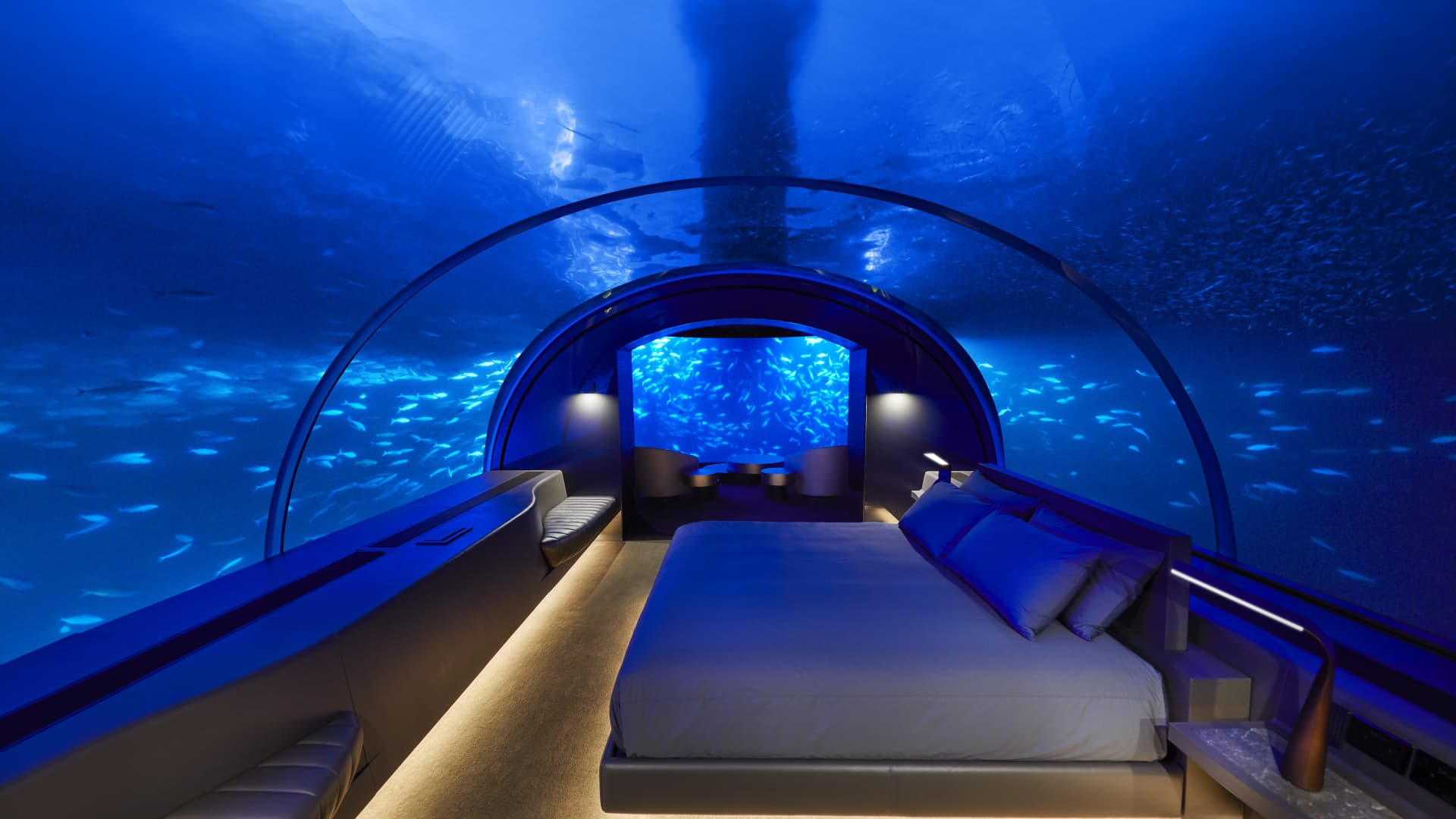 An underwater bedroom at the MURAKA, part of Conrad Maldives Rangali Island.