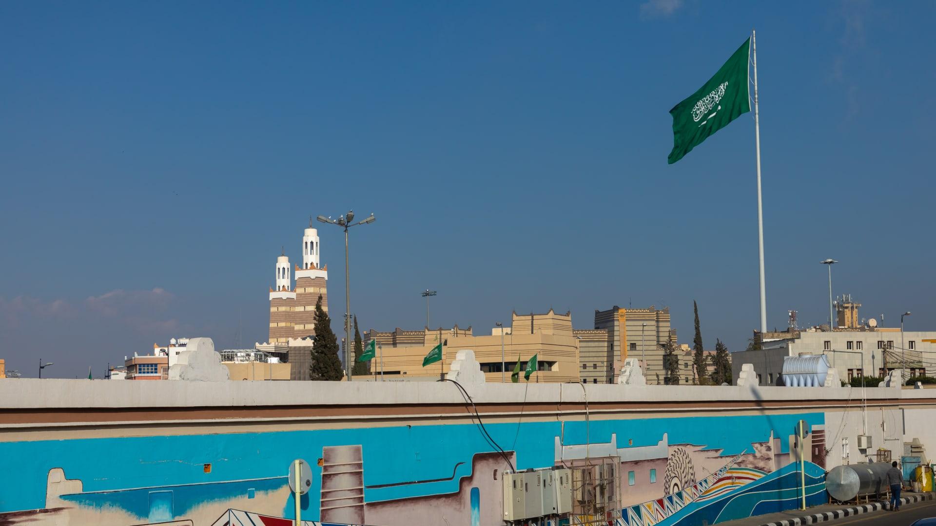 Saudi arabian flag in Asir province, Abha, Saudi Arabia.