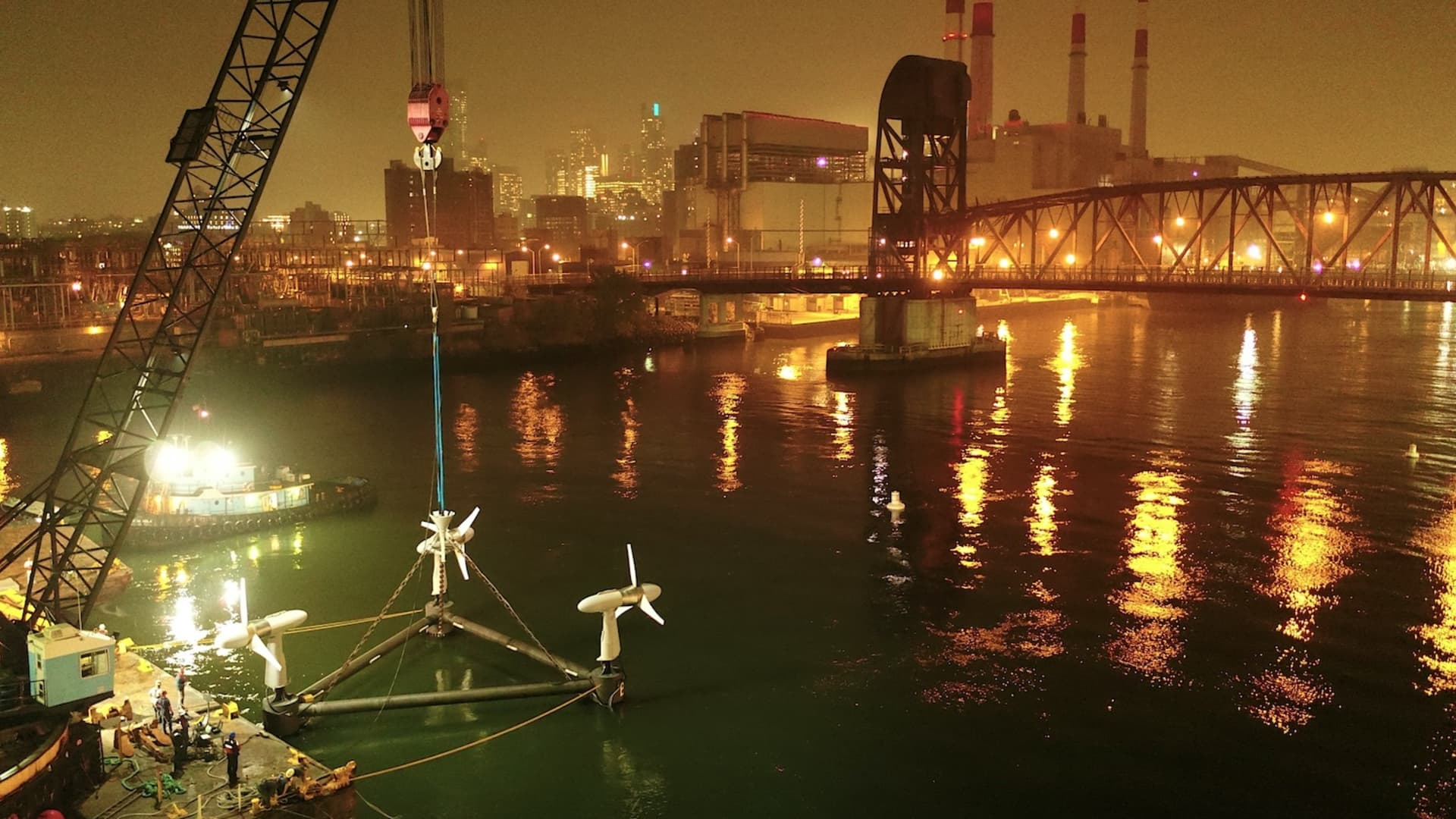 This image shows the three turbines from Verdant Power's Roosevelt Island Tidal Energy project, located in New York's East River.