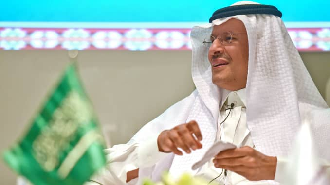 Saudi Minister of Energy Abdulaziz bin Salman speaks during a media briefing at the King Abdullah Petroleum Studies and Research Center (KAPSARC) in Riyadh for a press conference, on November 18, 2020.