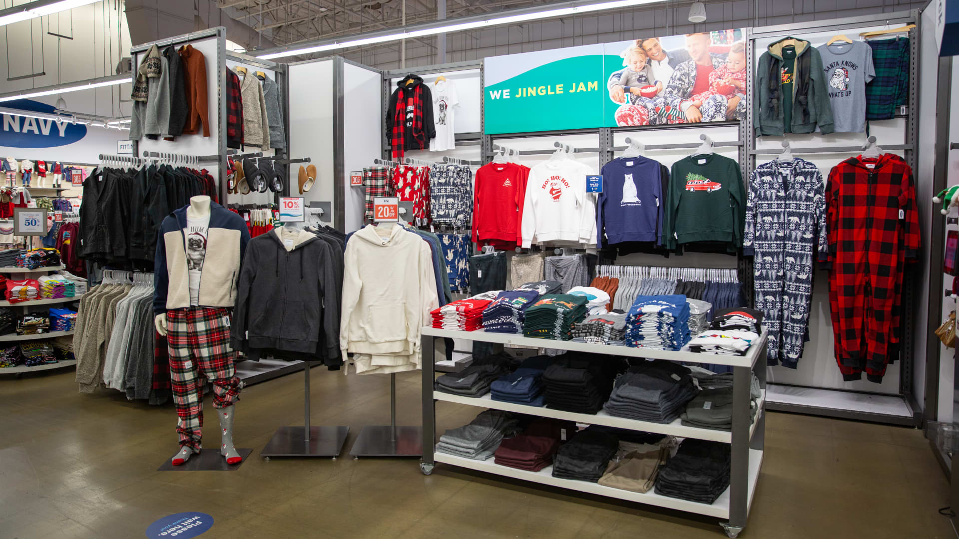 The front of an Old Navy store this holiday season, which now features an assortment of loungewear, pajamas and athletic apparel.