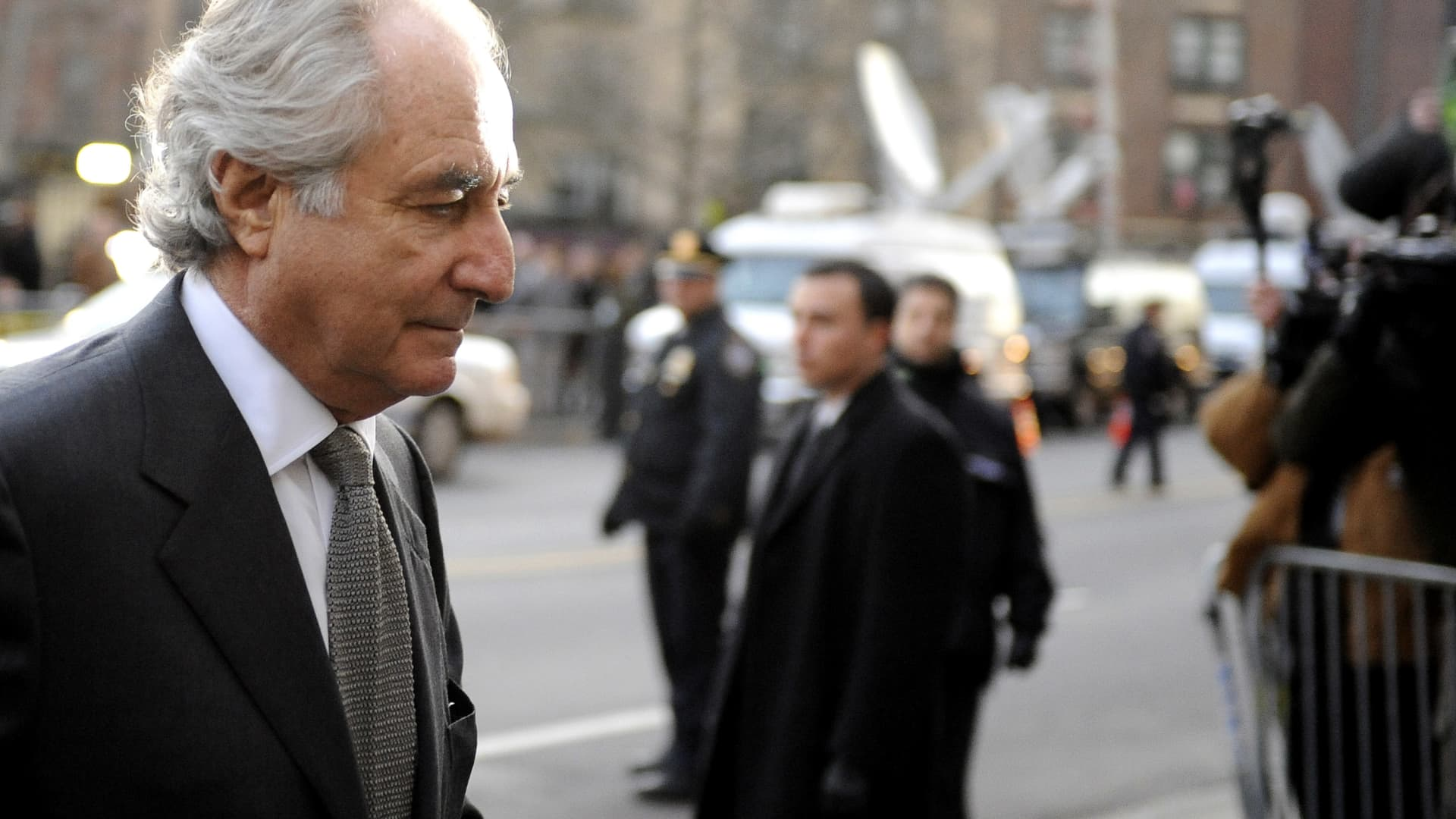 Bernard Madoff arrives at Manhattan Federal court on March 12, 2009 in New York City.