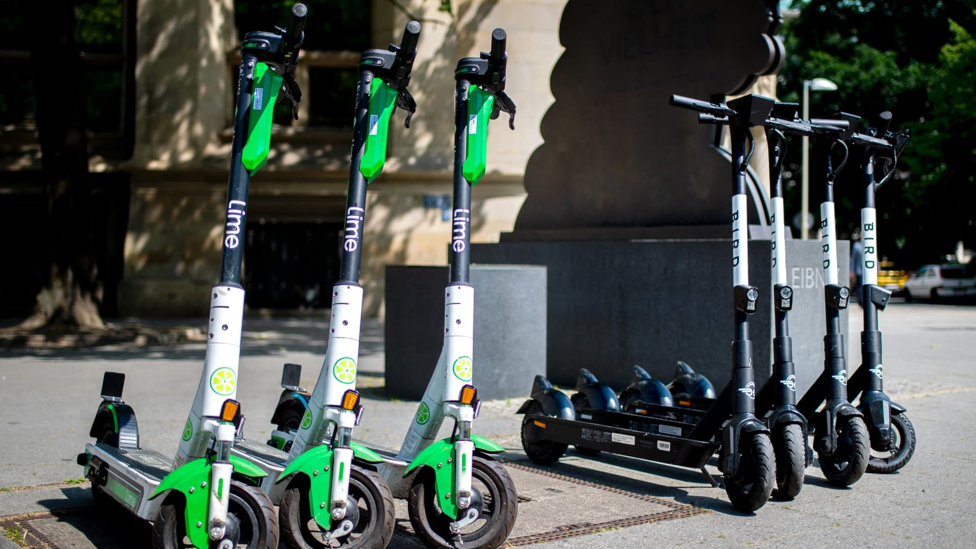 E-scooters from the electric scooter-sharing providers Lime and Bird in Hannover, Germany.