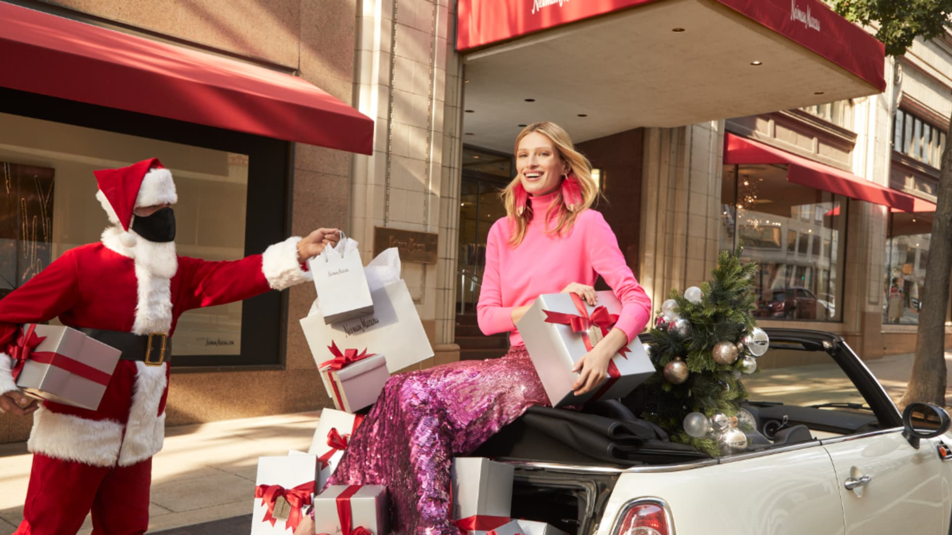 Santa Claus will deliver packages curbside, by request, at Neiman Marcus this holiday season.