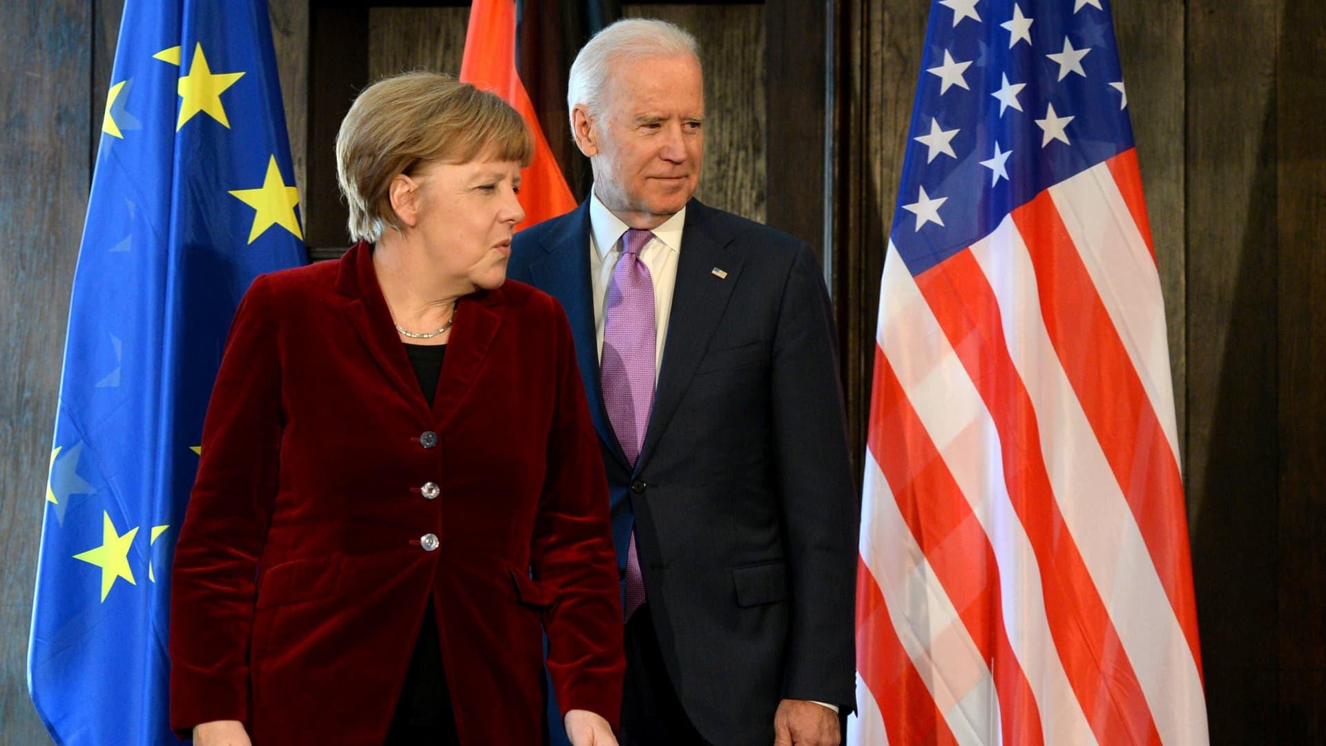 German Chancellor Angela Merkel and US Vice President Joe Biden in 2015.