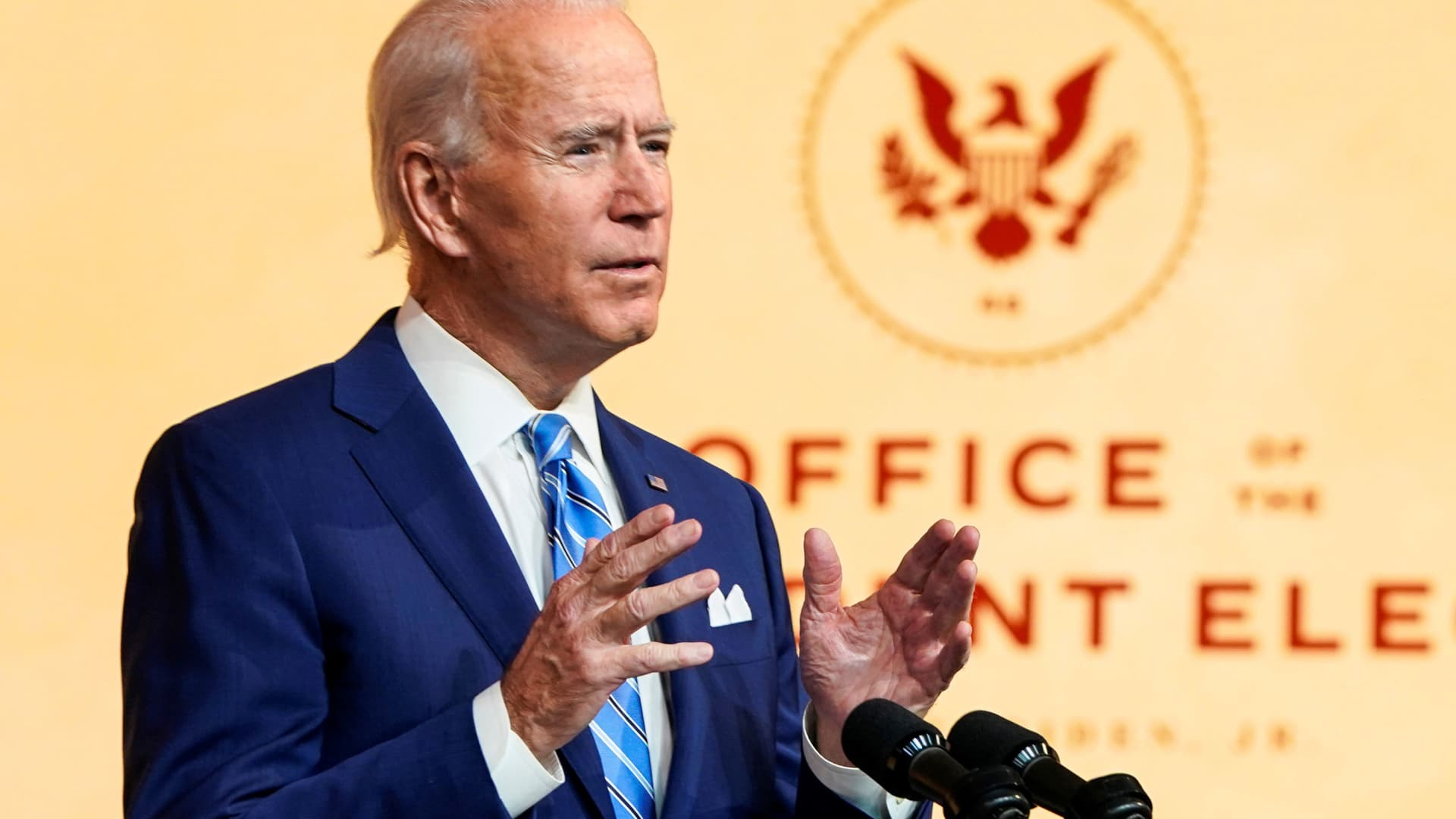 U.S. President-elect Joe Biden delivers a pre-Thanksgiving speech at his transition headquarters in Wilmington, Delaware, November 25, 2020.