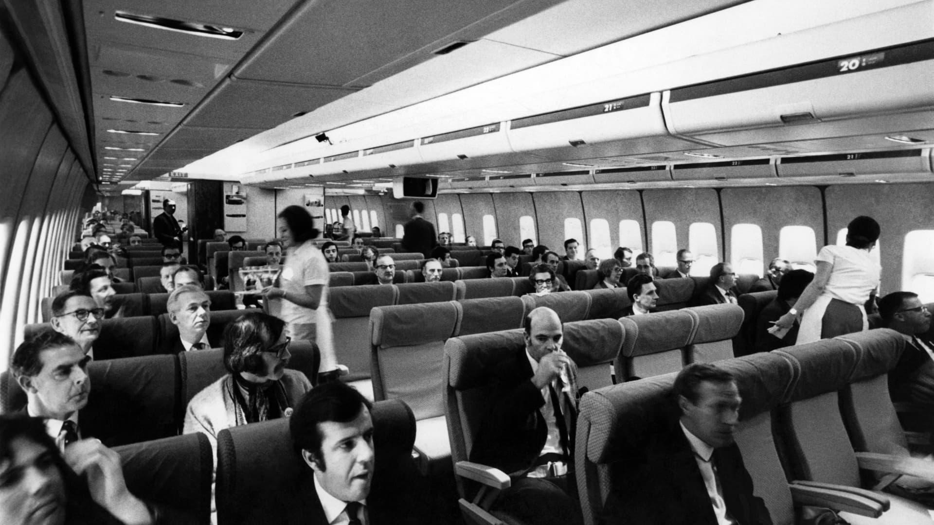 The interior of a Boeing 747 jumbo jet, circa 1970.
