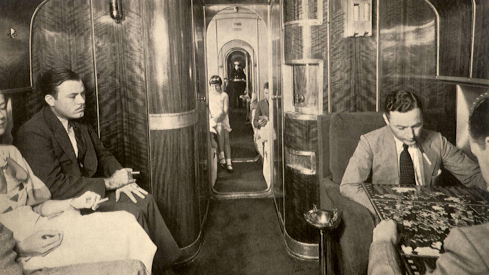 The salon aboard a Pan Am Martin Clipper, circa 1936.