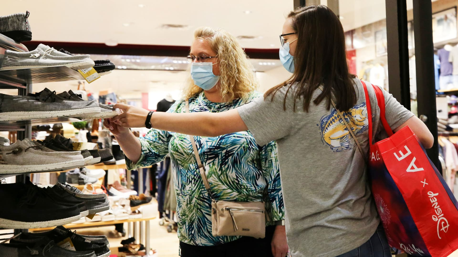 Shoppers look at shoes at Coastal Grand Mall on Black Friday, as the coronavirus disease (COVID-19) pandemic continues, in Myrtle Beach, South Carolina, November 27, 2020.