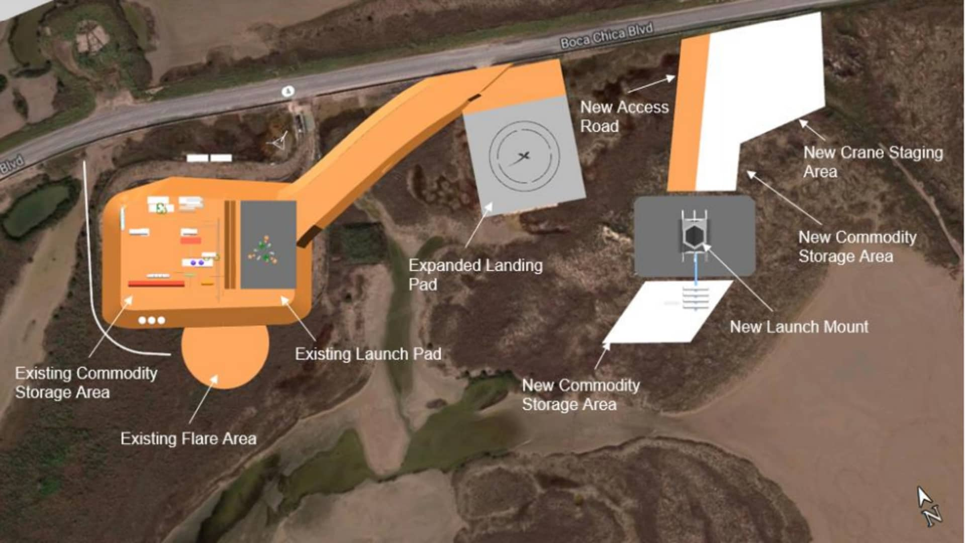 SpaceX's plan as of May 2020 to further build up a launch facility in Boca Chica, Texas.