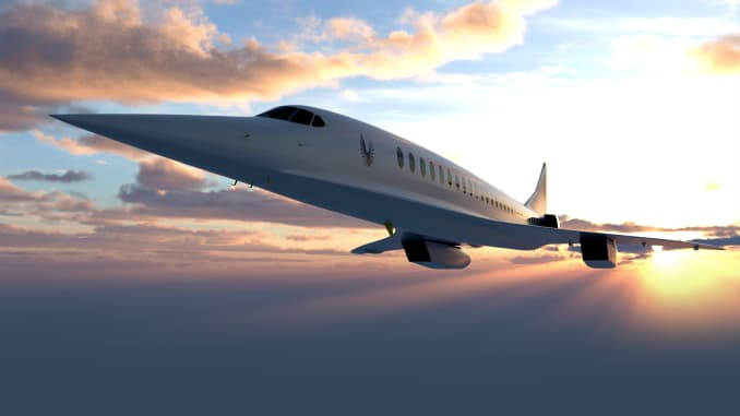 A rendering of Boom Supersonic's Overture jet.