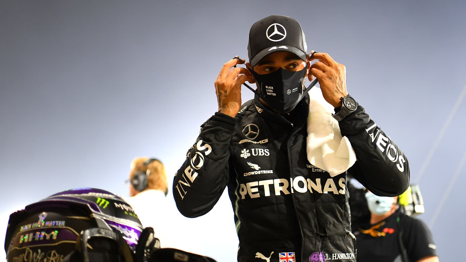 Race winner Lewis Hamilton of Great Britain and Mercedes GP looks on in parc ferme during the F1 Grand Prix of Bahrain at Bahrain International Circuit on November 29, 2020 in Bahrain, Bahrain.
