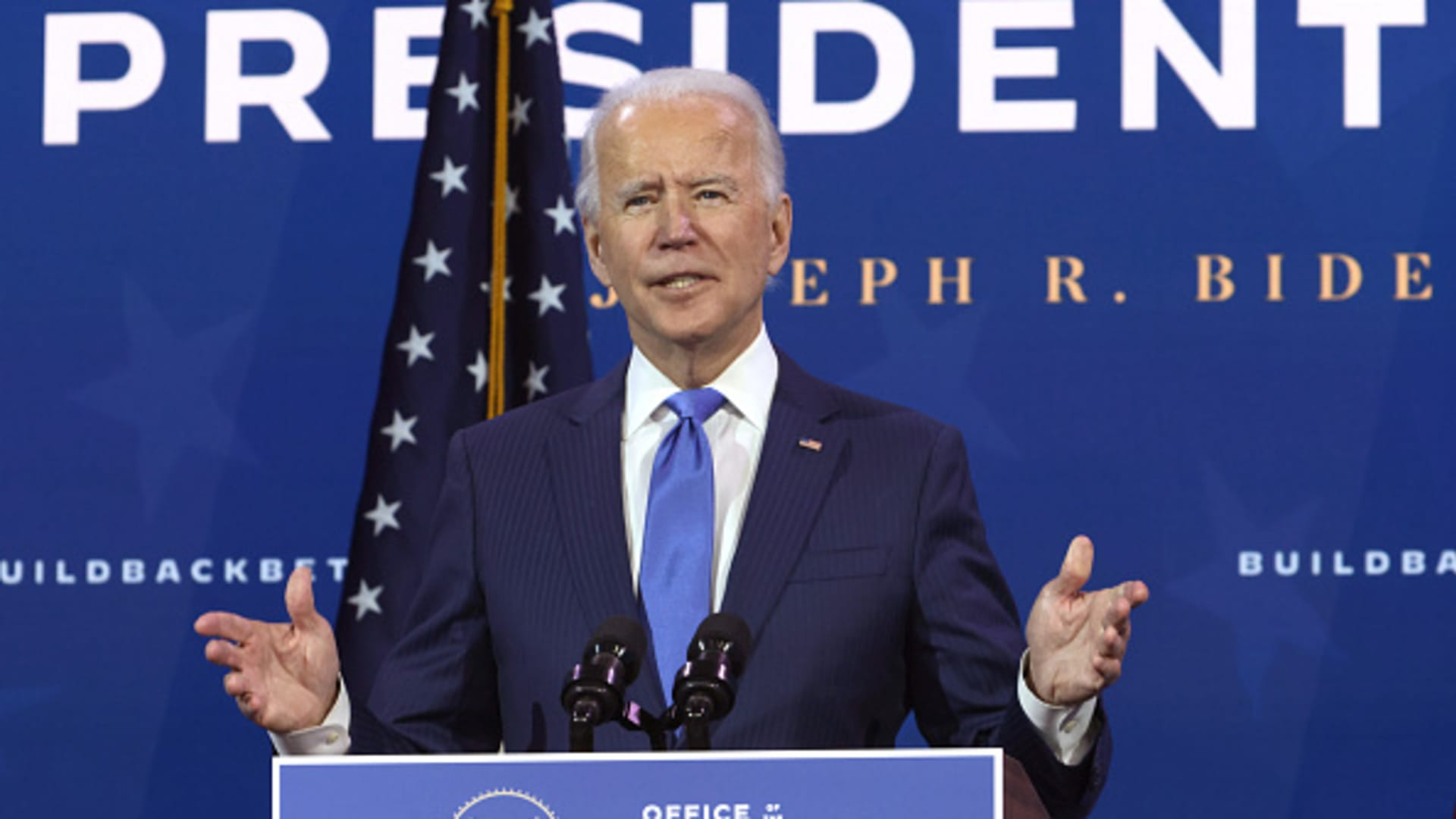 U.S. President-elect Joe Biden speaks during an event to name his economic team at the Queen Theater December 1, 2020 in Wilmington, Delaware.