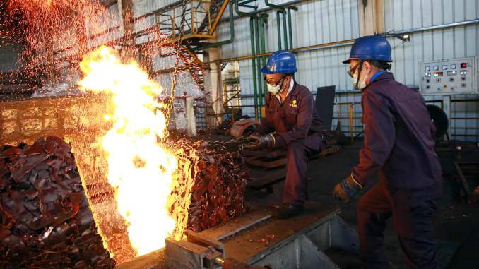 The smelter is melting copper on July 23, 2020 in Jinhua, Zhejiang, China.
