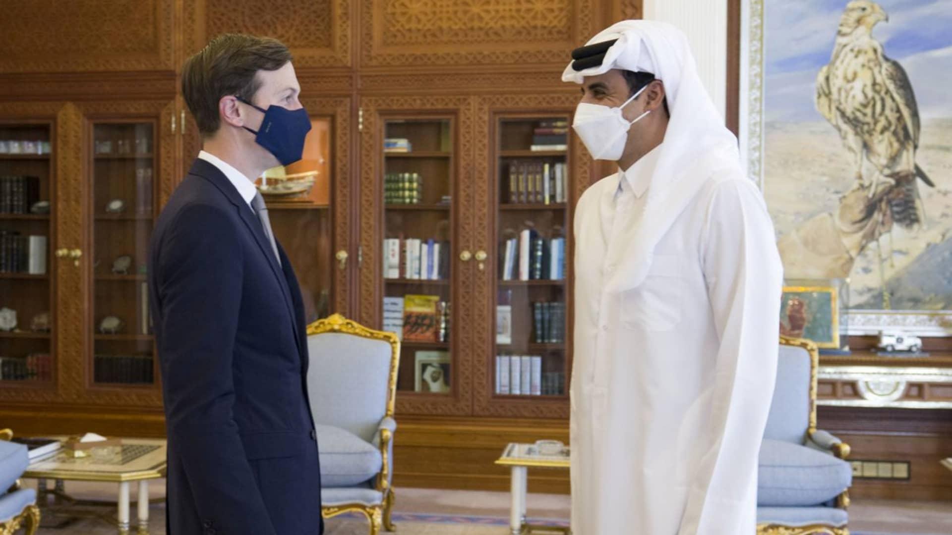 Qatar's ruler, Emir Sheikh Tamim bin Hamad al-Thani, meets with U.S. President's senior adviser Jared Kushner in Doha, Qatar, December 2, 2020.