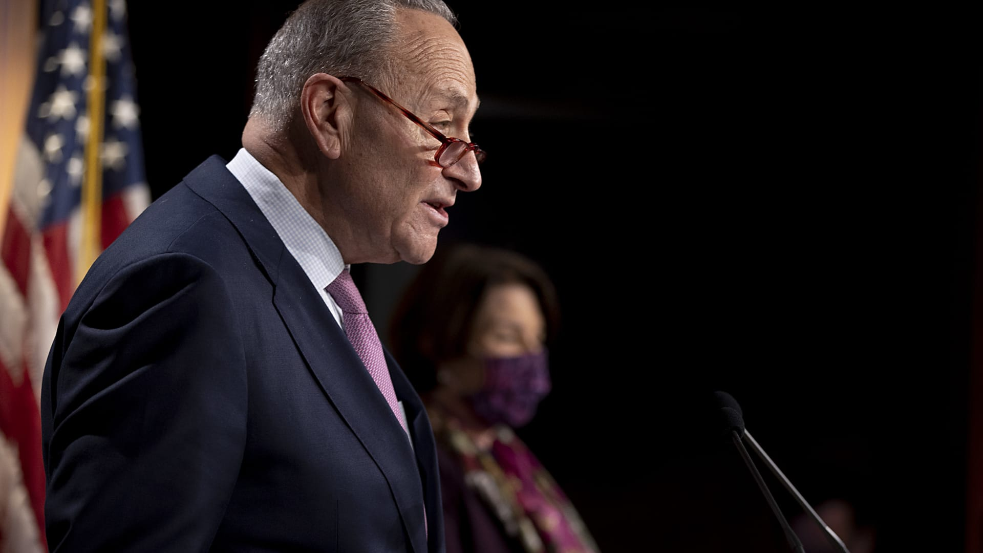Senate Minority Leader Chuck Schumer, D-NY, holds a news conference at the U.S. Capitol on Dec. 1, 2020 in Washington.