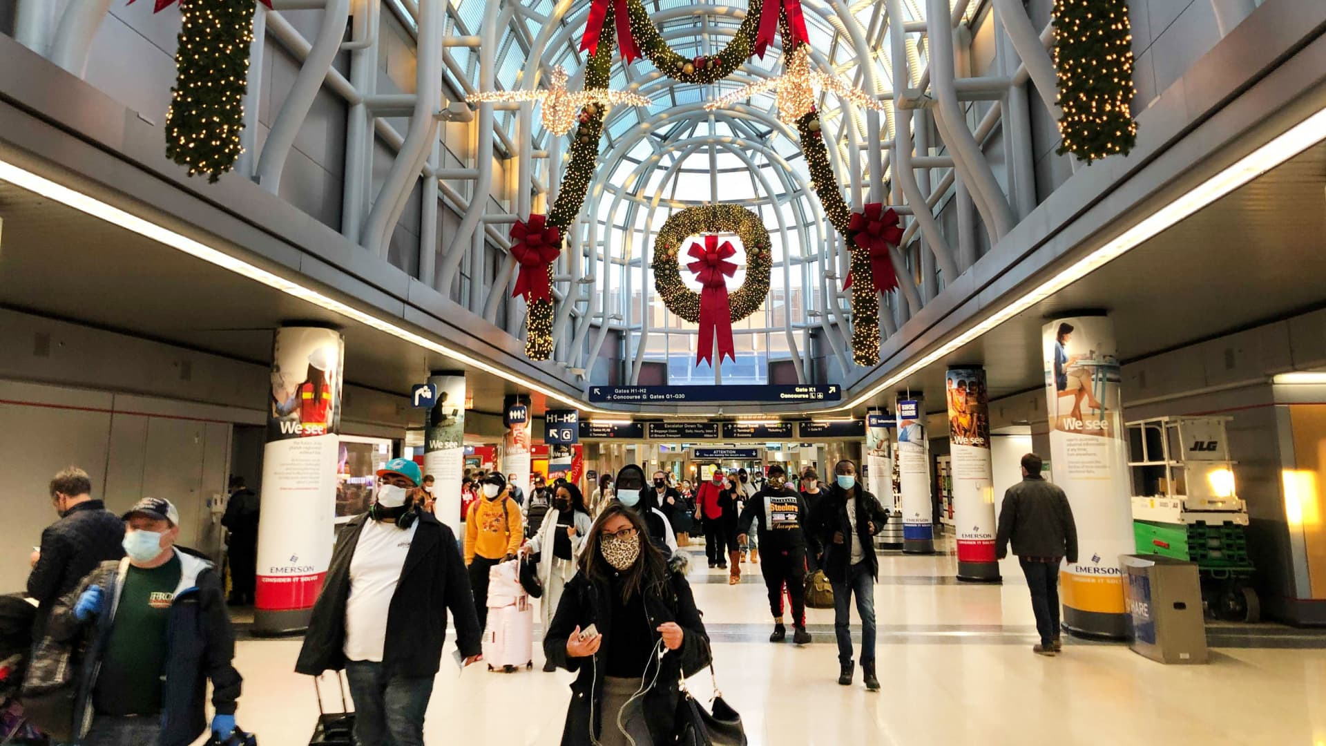 Chicago's O'Hare airport with Christmas decorations, Dec. 2, 2020.