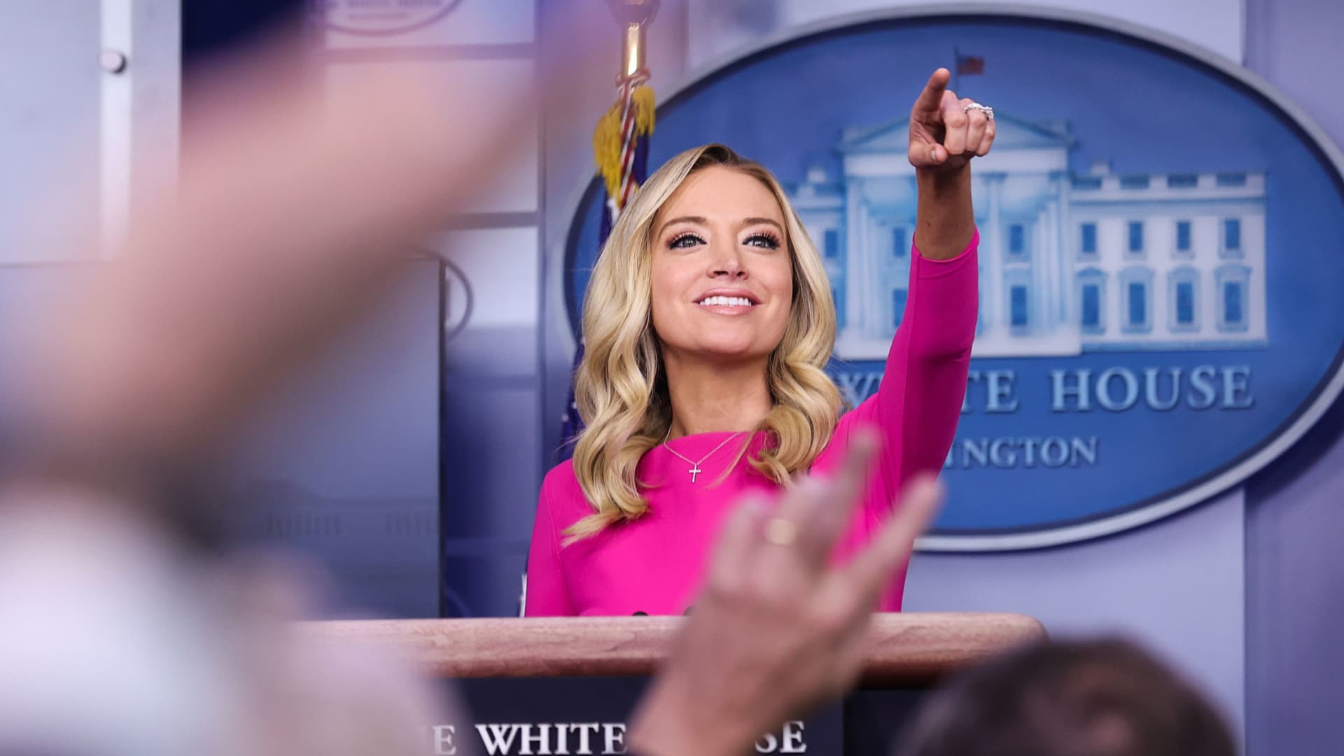 White House Press Secretary Kayleigh McEnany takes questions during a press briefing in the Brady Press Briefing Room at the White House in Washington, U.S., December 2, 2020.