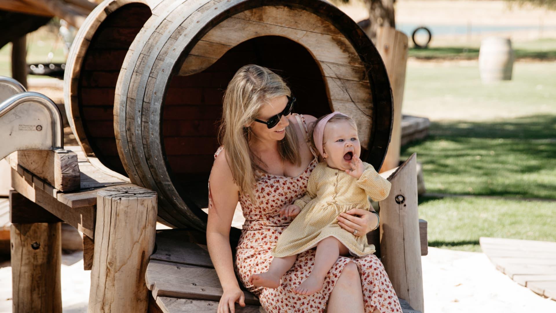 Swings & Roundabouts's wine barrel playground.