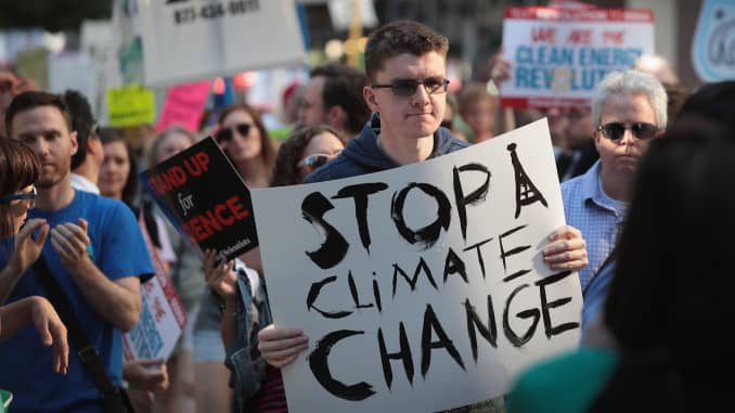 Demonstrators in Chicago protest President Donald Trump's decision to exit the Paris climate change accord on June 2, 2017.