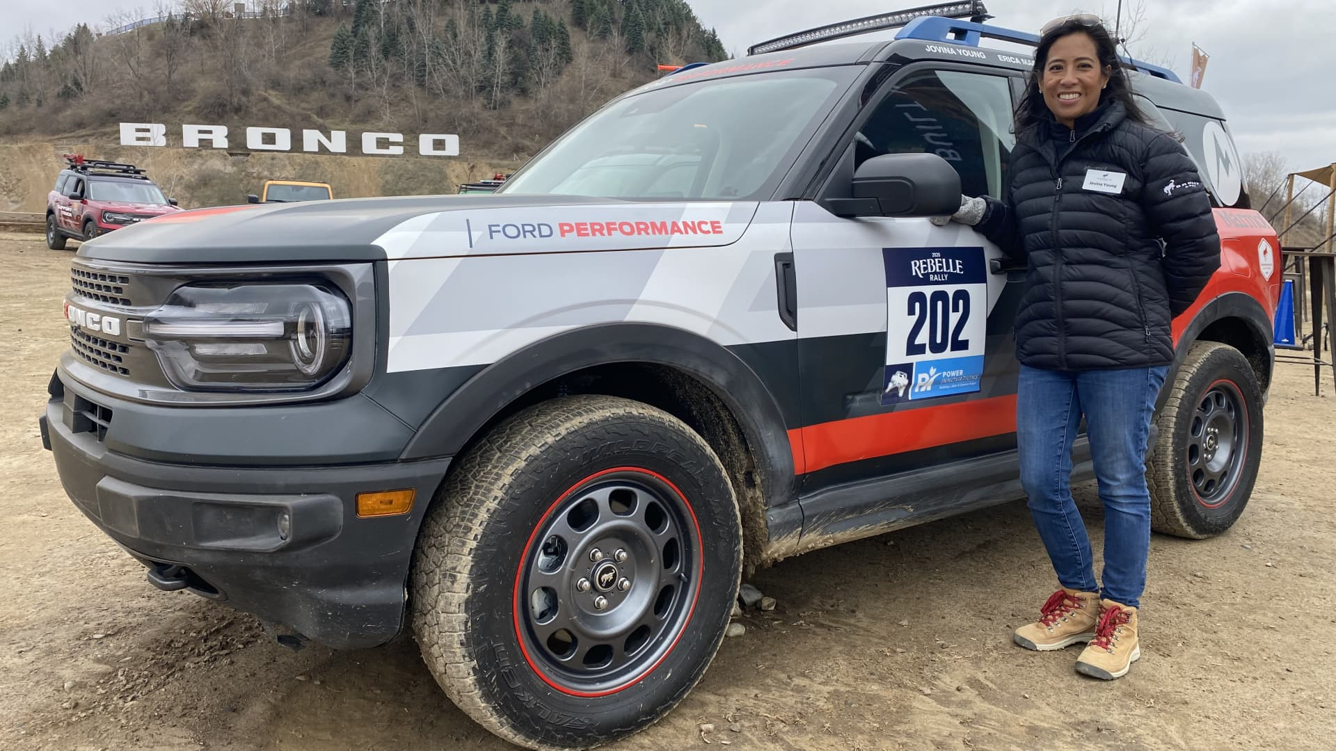Jovina Young, marketing manager of the Ford Bronco Sport, stands by the vehicle she drove in the 2020 Rebelle Rally, an all-female off-road event that travels through Nevada and California.